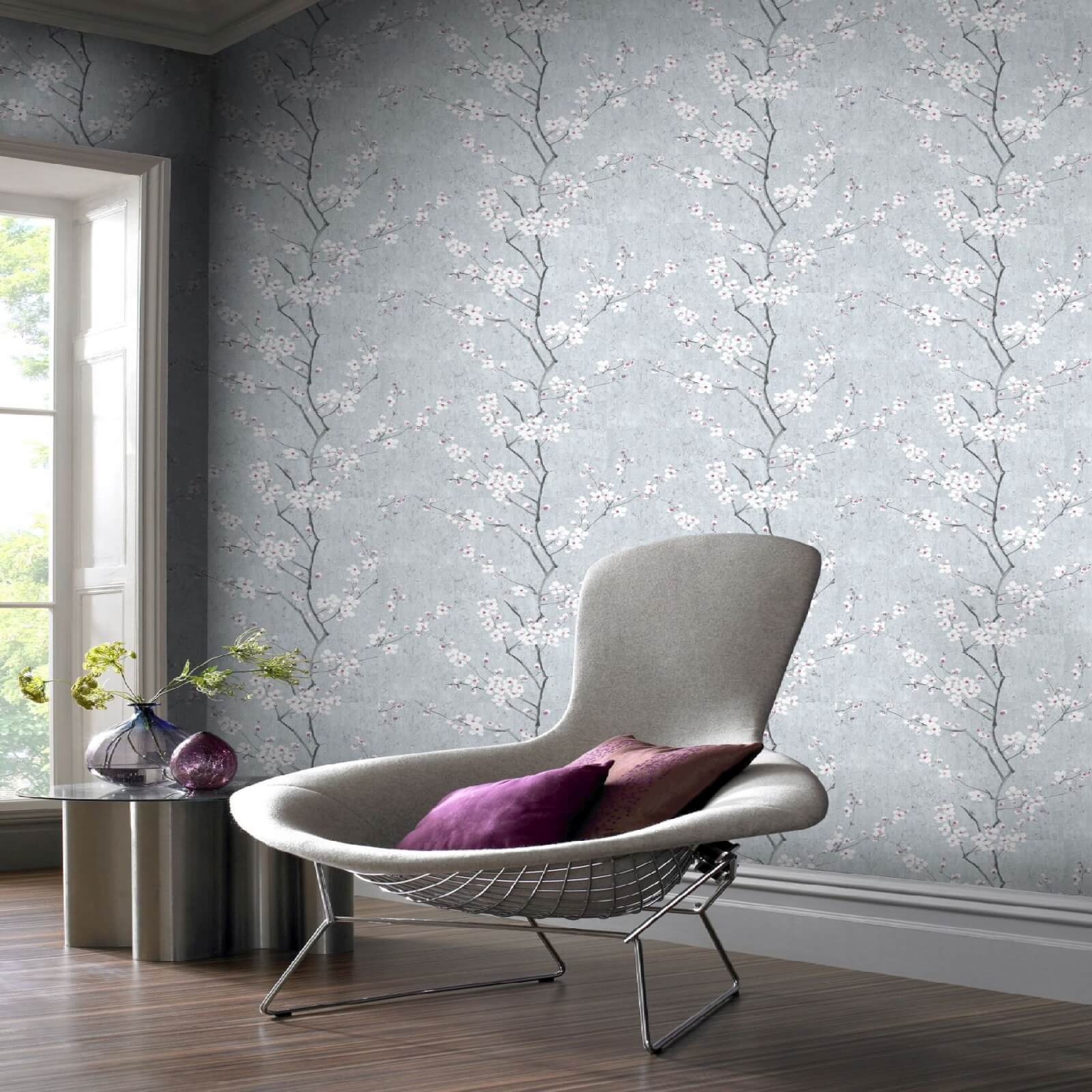 Boutique Sakura Cork Effect Metallic Cherry Blossom Wallpaper - Pale Blue/Silver