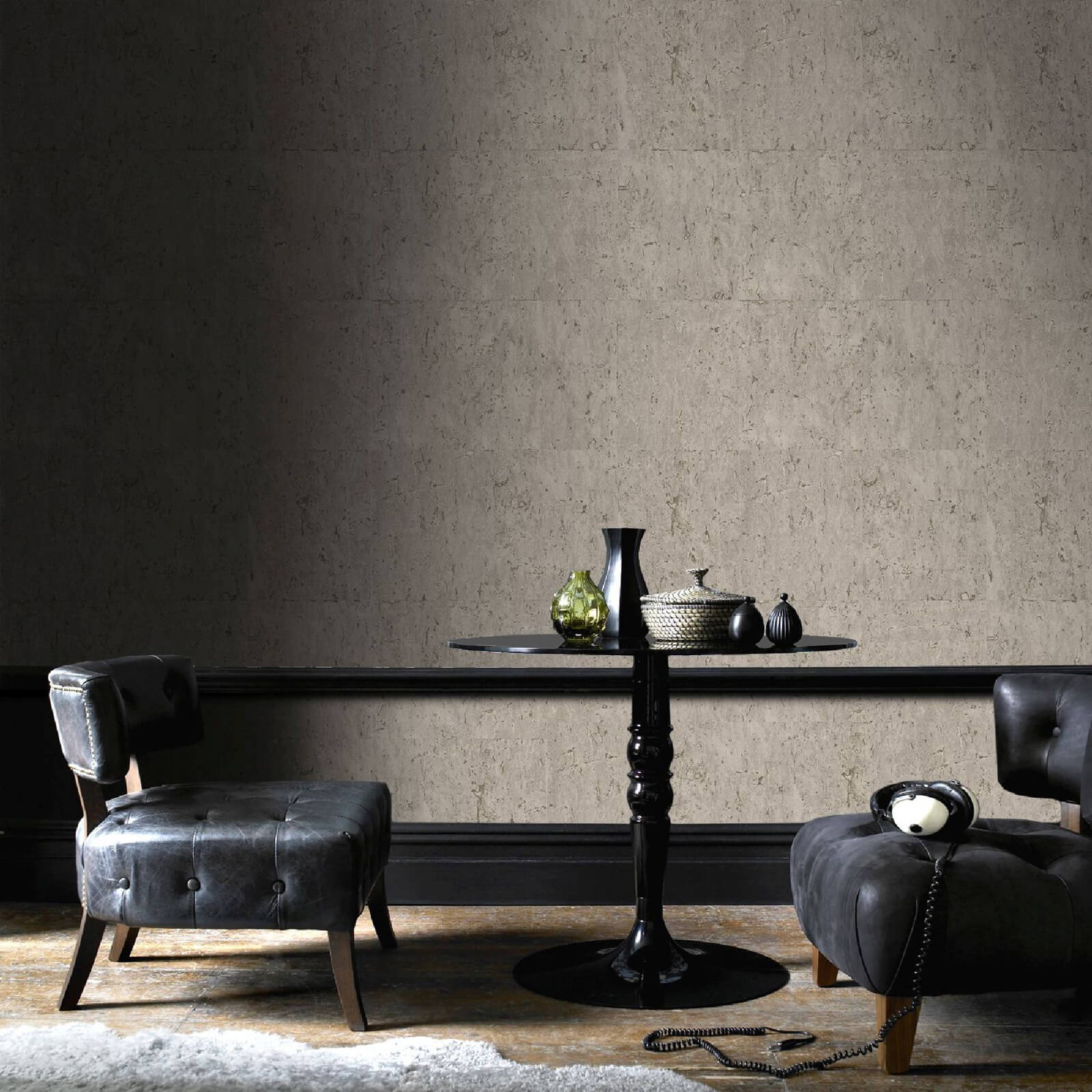 Boutique Textured Koruku Metallic Plain Wallpaper - Taupe