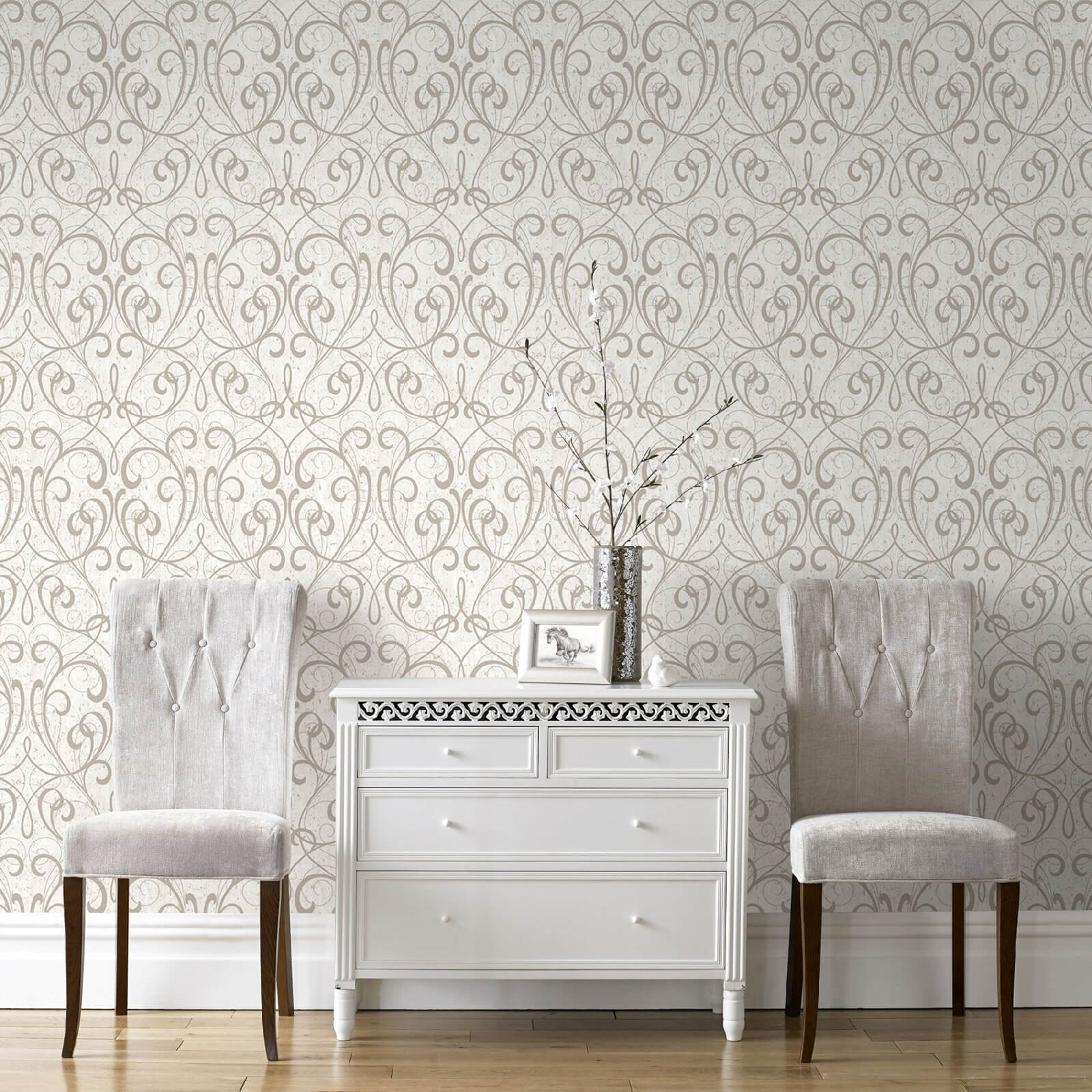 Boutique Cork Damask Metallic Textured Wallpaper - Cream/Pale Gold