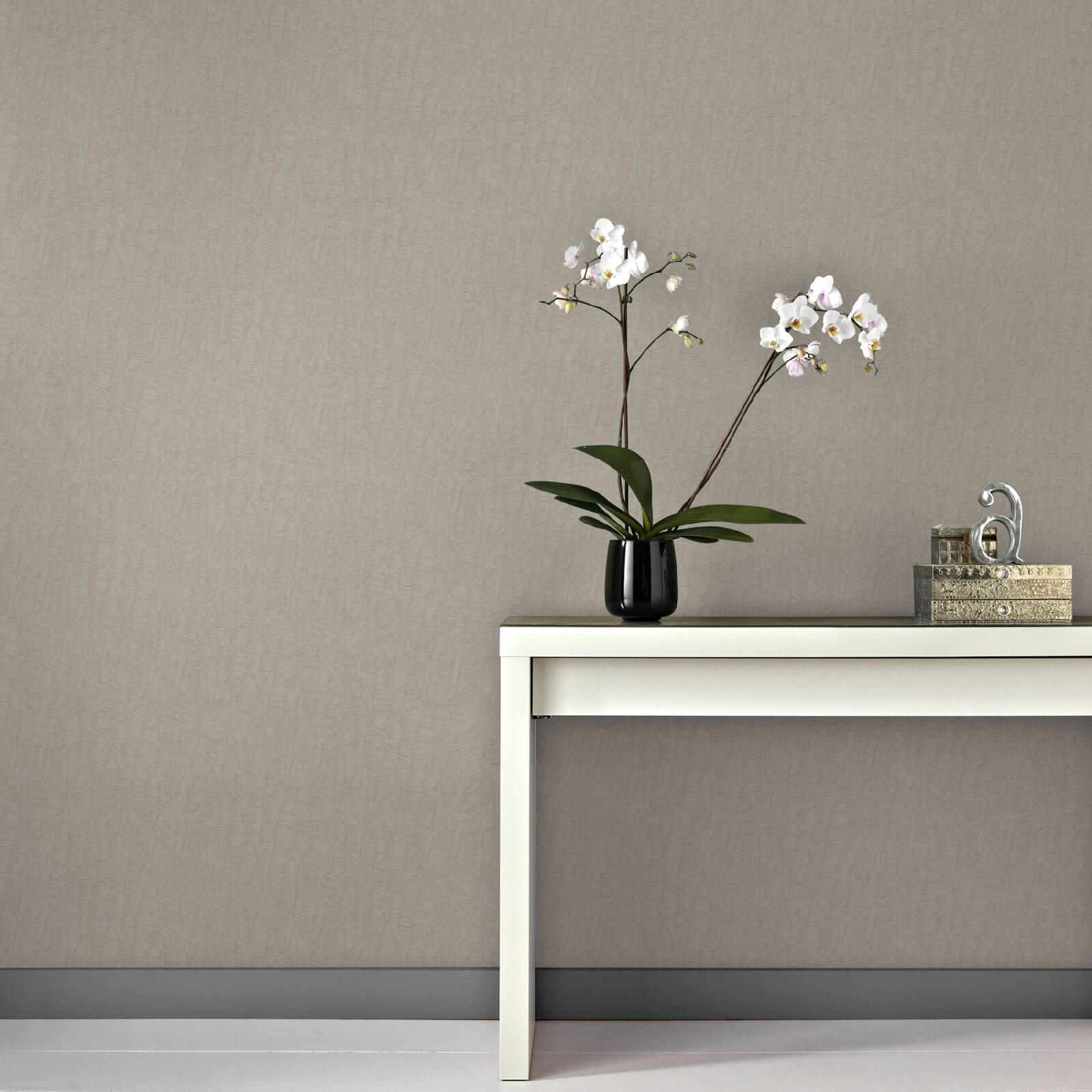 Boutique Corsetto Textured Metallic Plain Wallpaper - Taupe