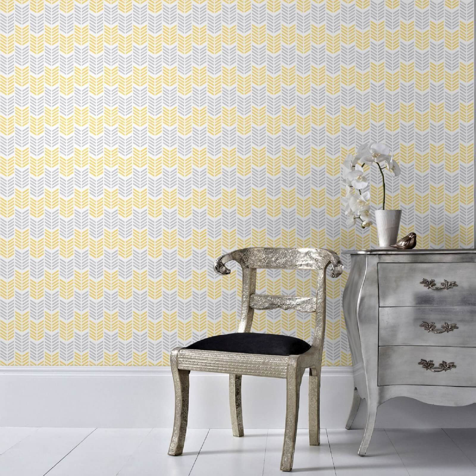Superfresco Easy Oiti Chevron Geometric Wallpaper - Yellow