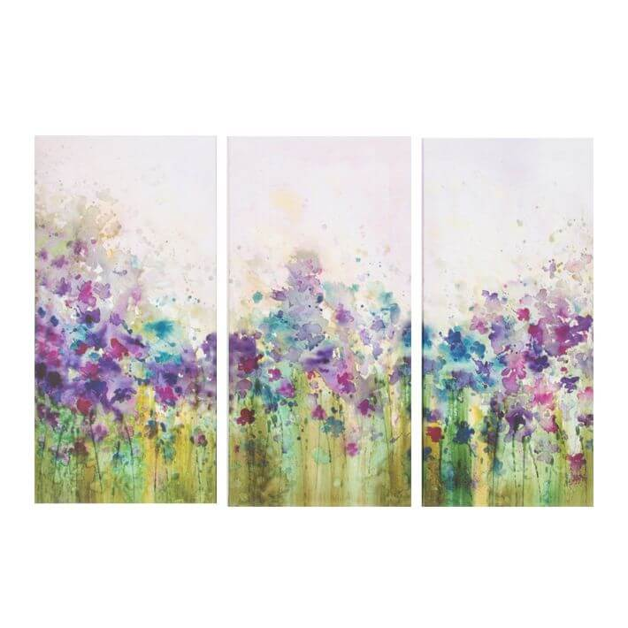 Art For The Home Trio Watercolour Floral Meadow Printed Canvas Wall Art