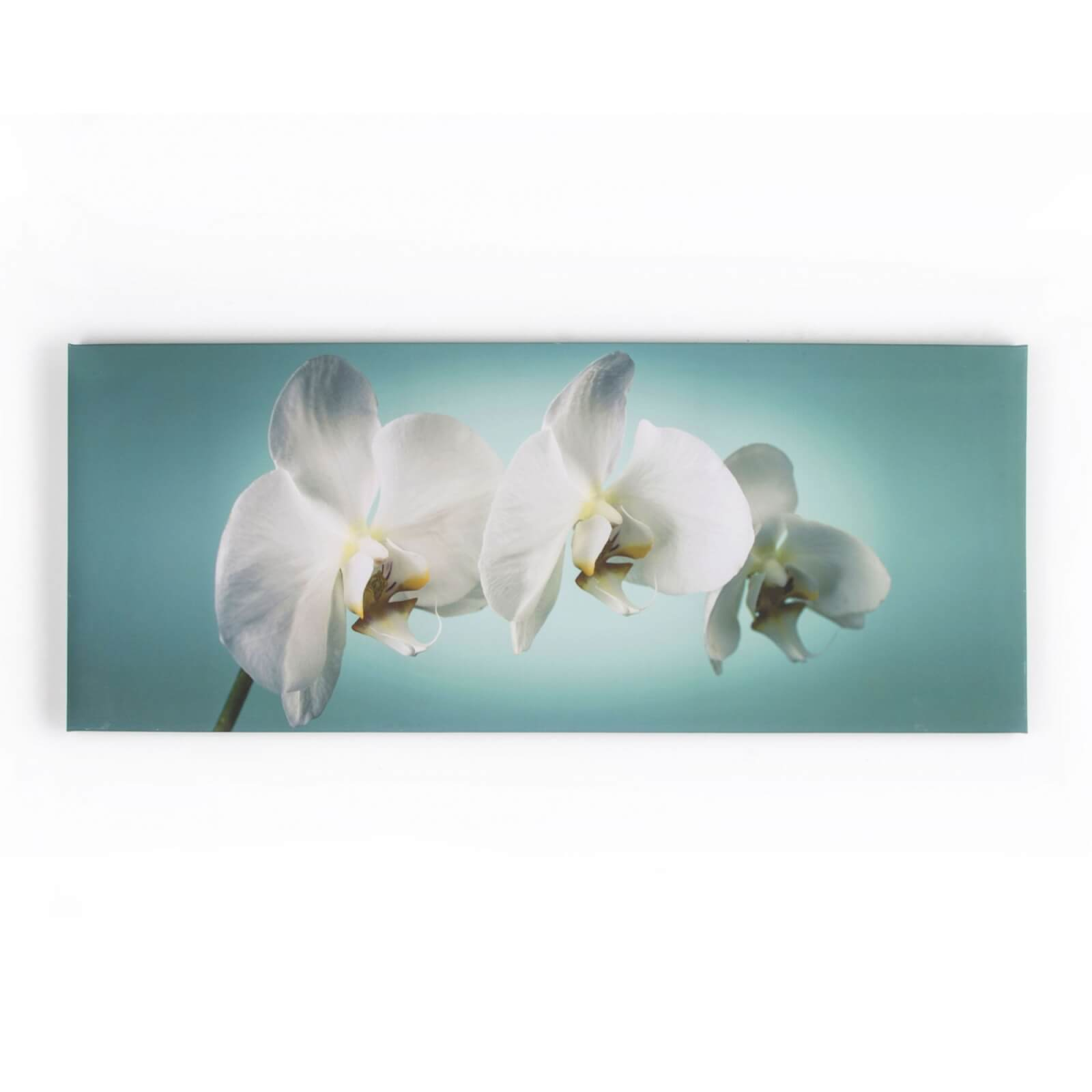 Art For The Home Teal Floral Orchid Print Canvas Wall Art