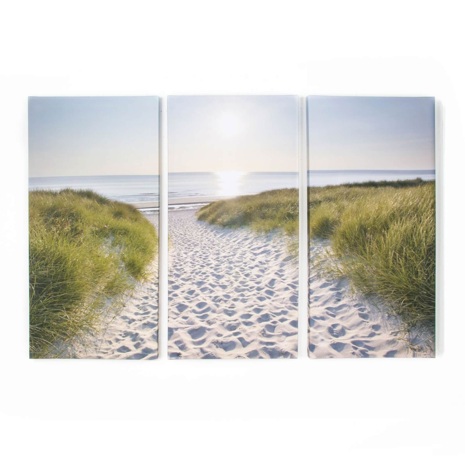 Art For The Home Trio 3 x Beach Walk Printed Wall Art Canvases