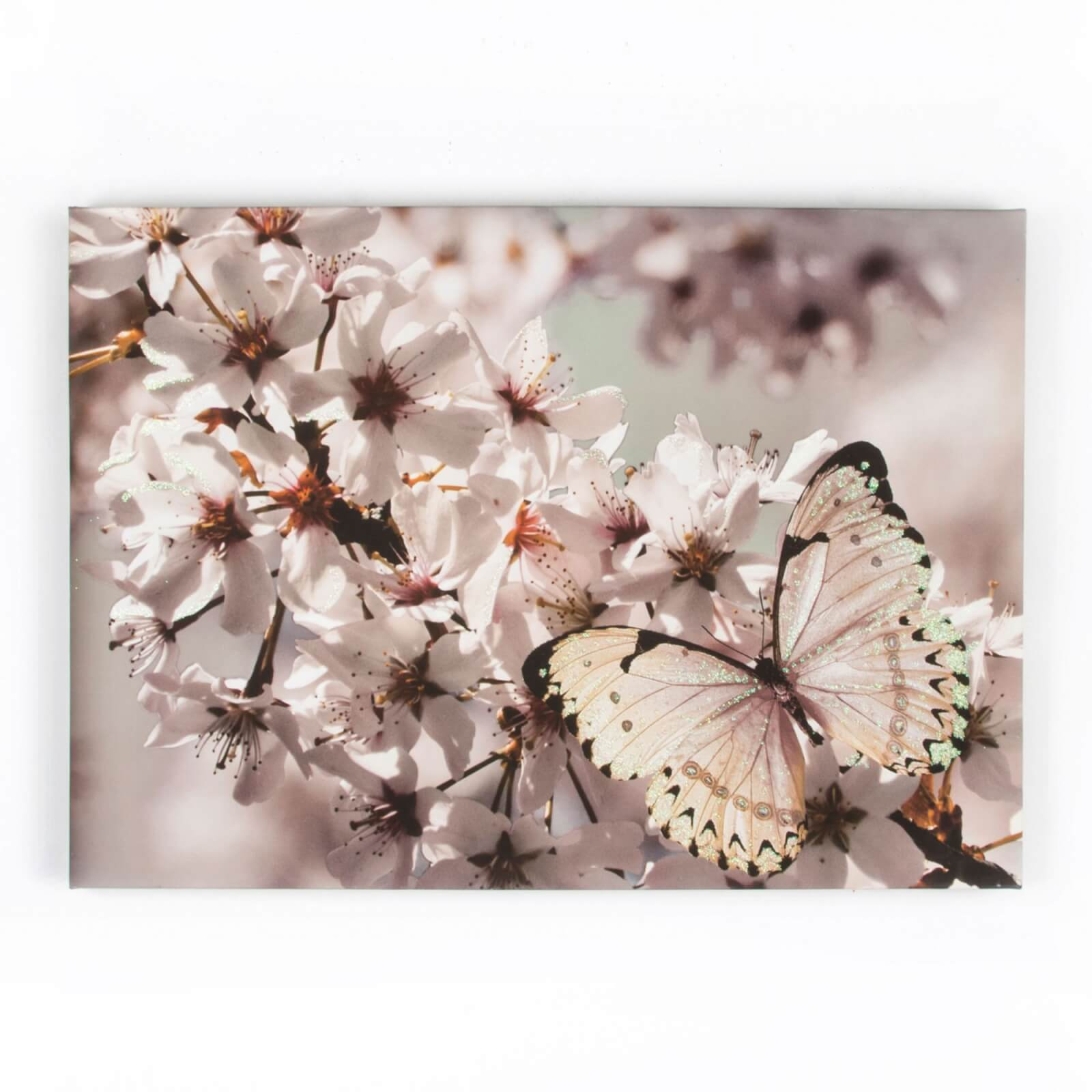 Art For The Home Butterfly Branch With Glitter Printed Canvas Wall Art