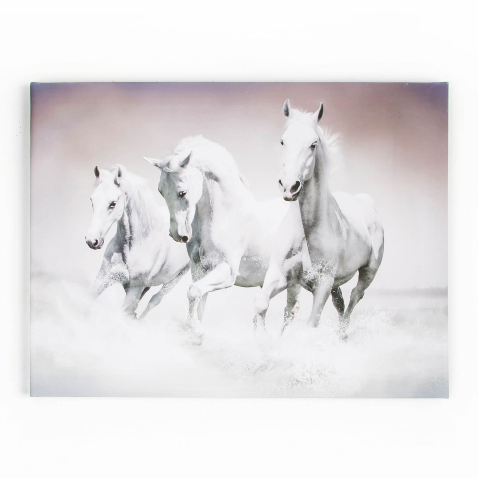 Art For The Home Galloping Horses Waves Printed Canvas Wall Art