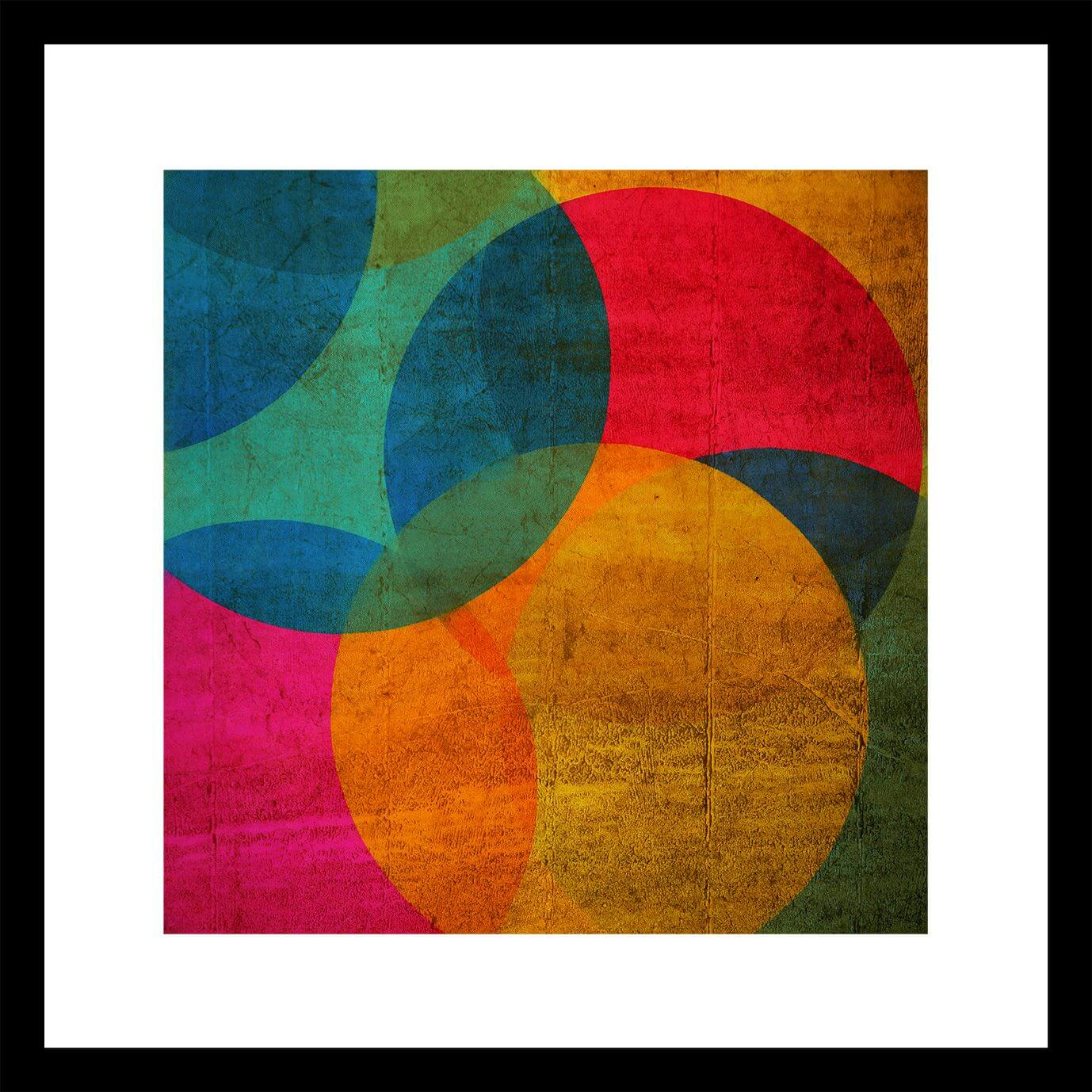 Art For The Home Neon Circle Multi Colour Framed Wall Art