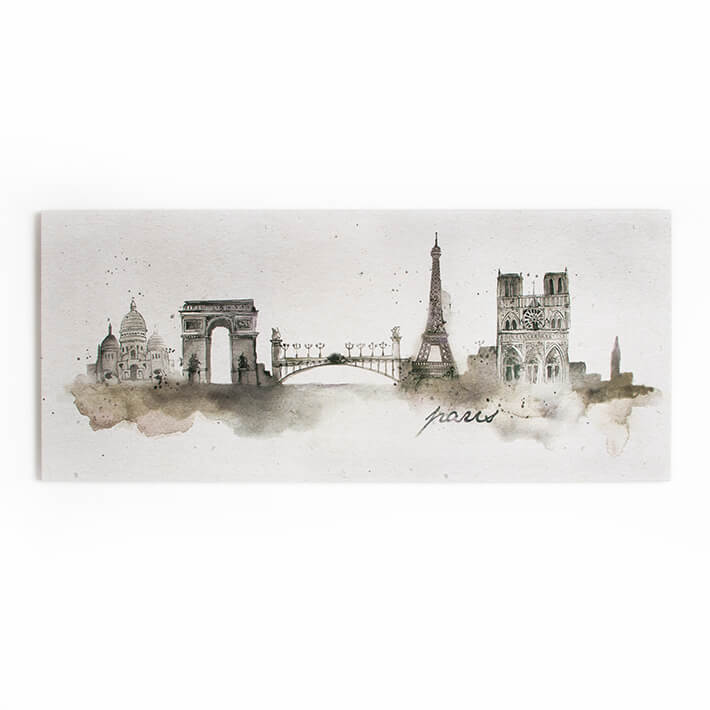 Art For The Home Paris Watercolour Printed Canvas Wall Art