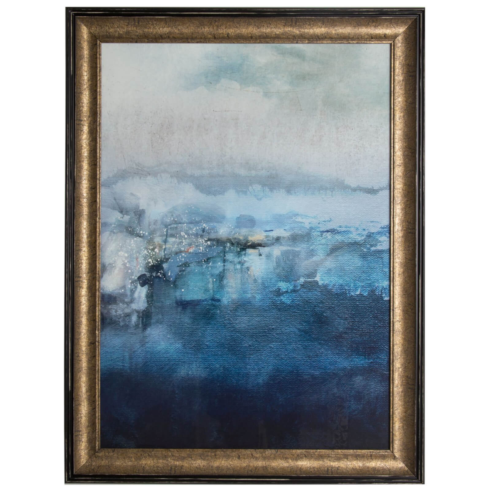 Art For The Home Ink Abstract Blue Framed Wall Art