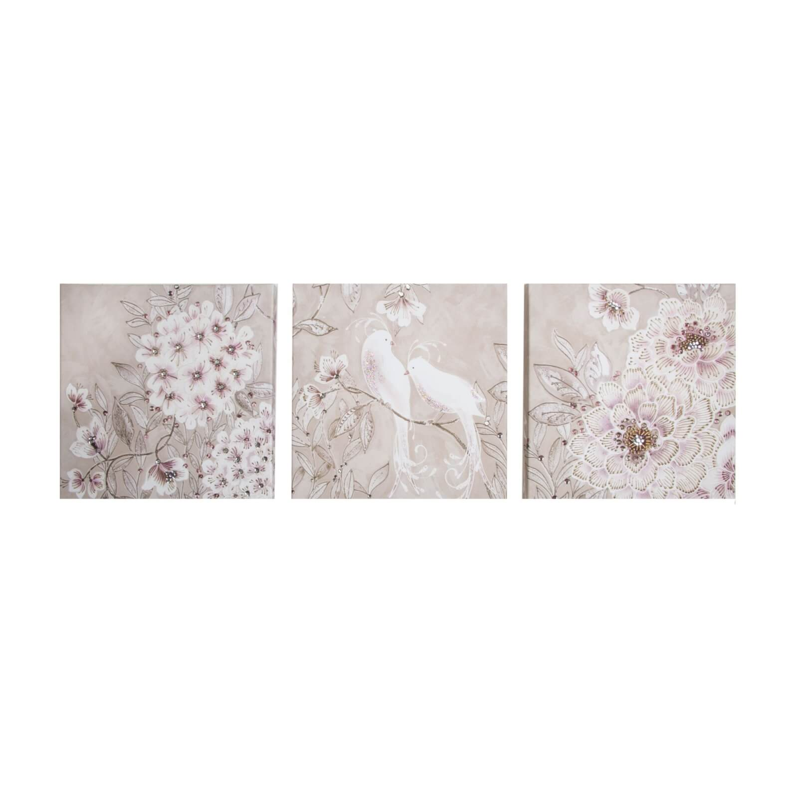 Art For The Home Trio Love Bird Glitter Branch Printed Canvas Wall Art