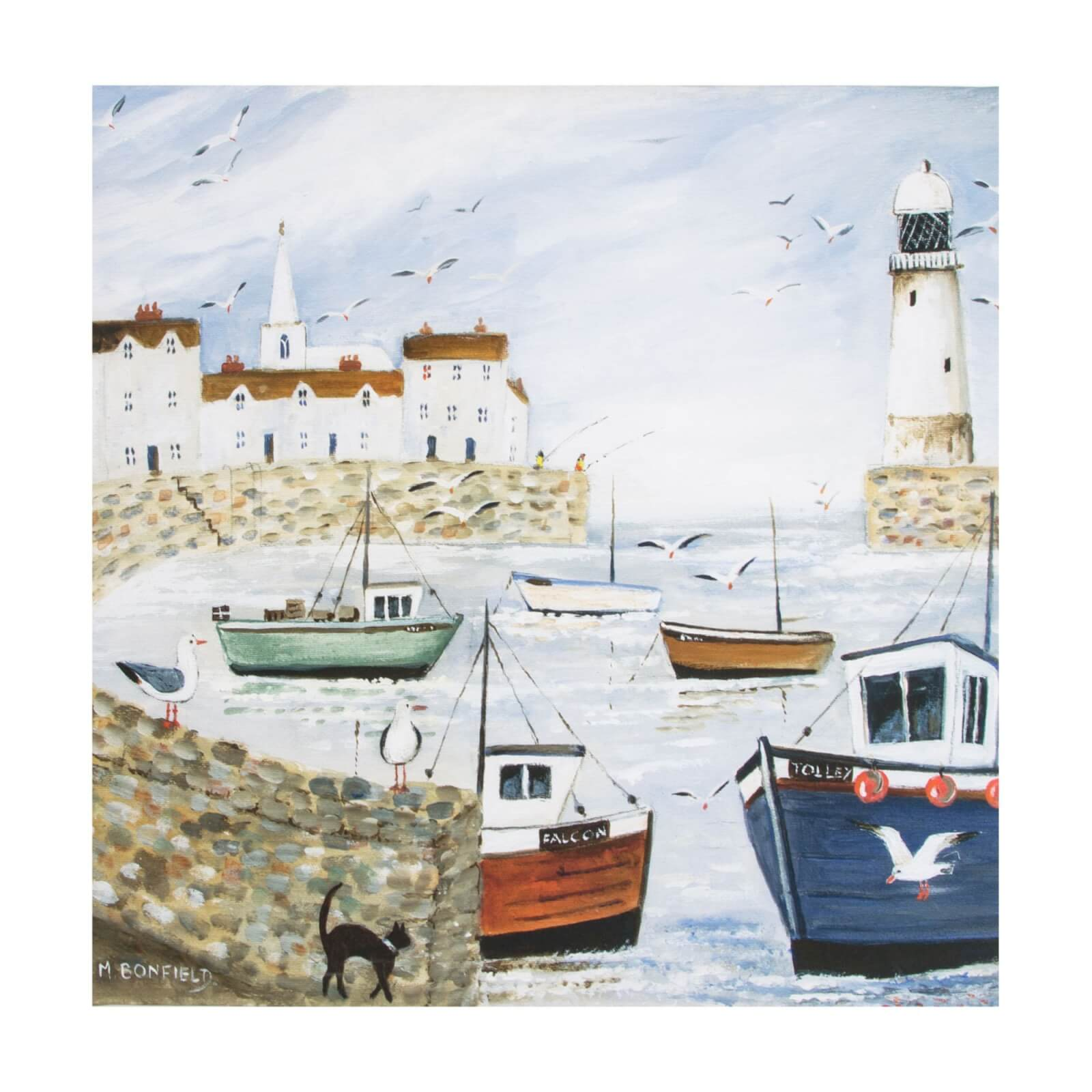 Art For The Home Harbourside Lighthouse Printed Canvas Wall Art