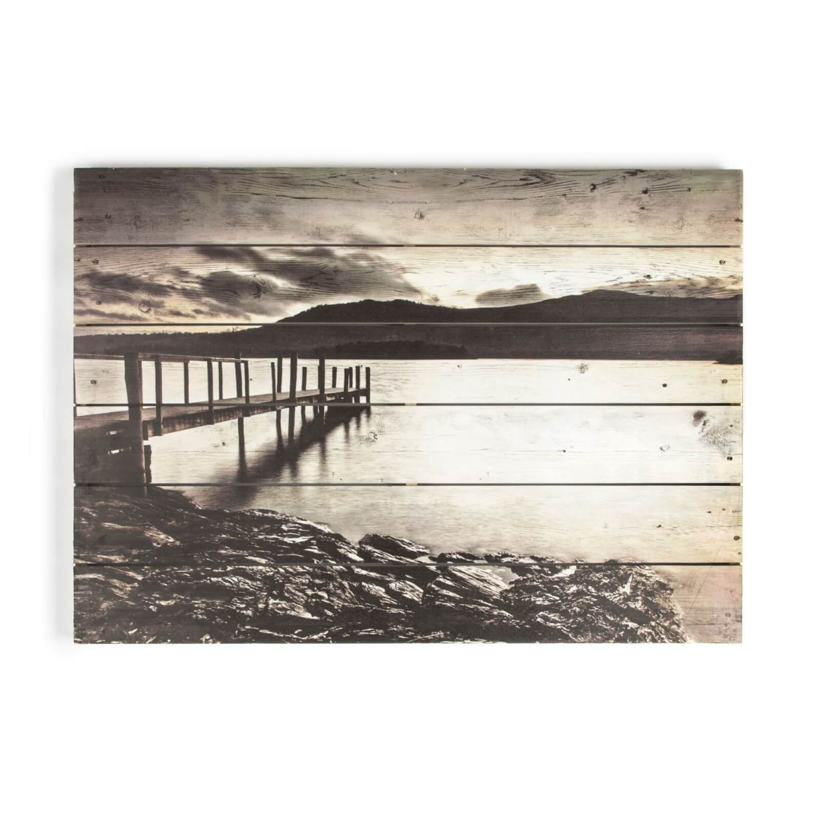 Art For The Home Tranquil Jetty Print On Wood Wall Art