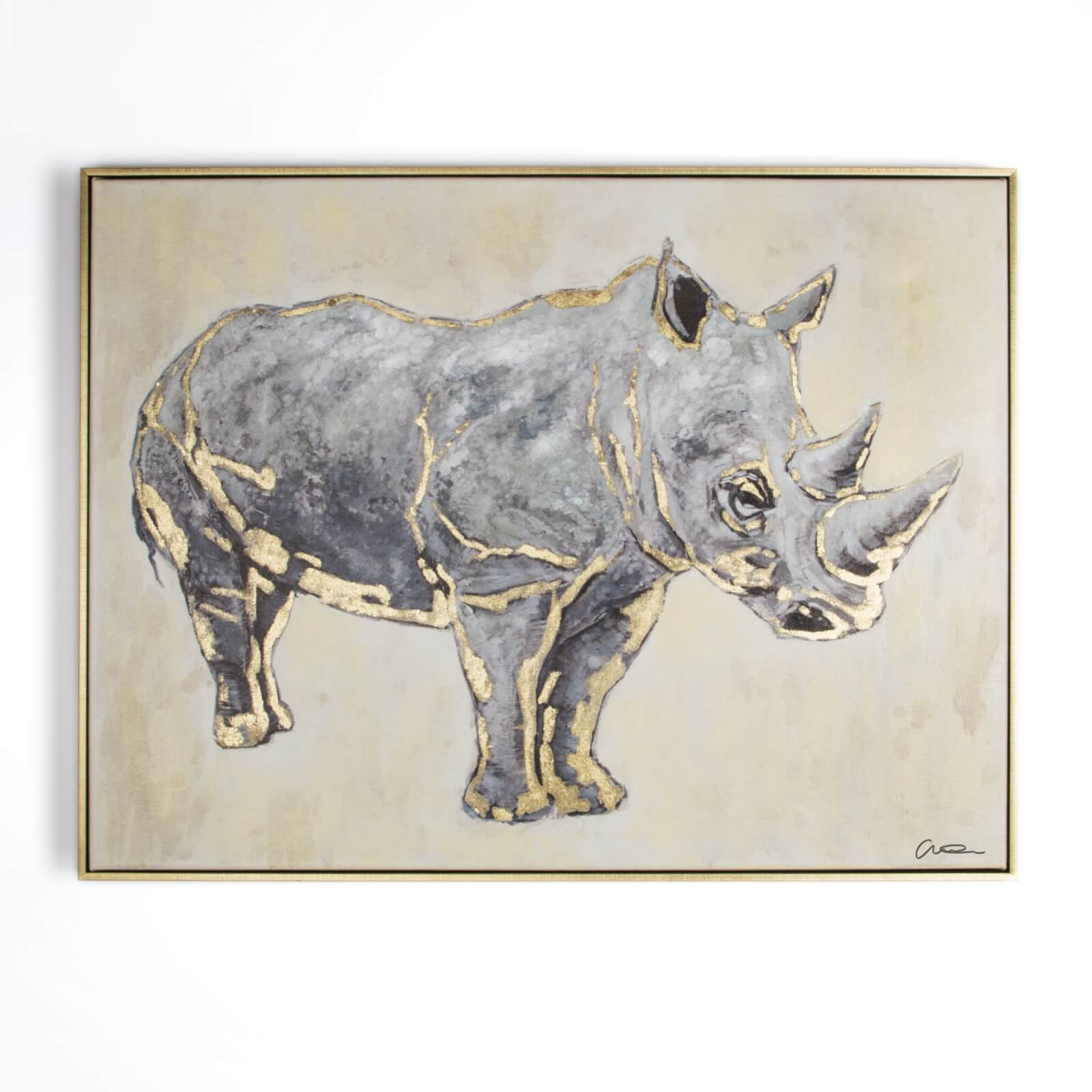Art For The Home Metallic Rhino Handpainted Framed Canvas Wall Art