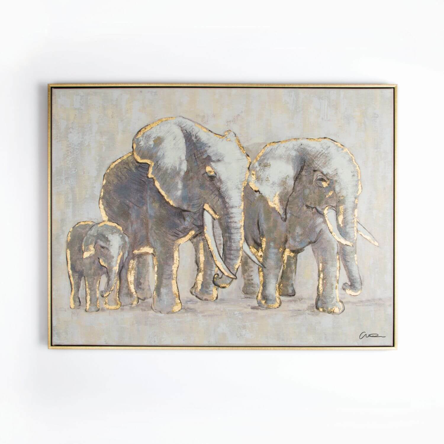 Art For The Home Metallic Elephant Family Handpainted Framed Canvas