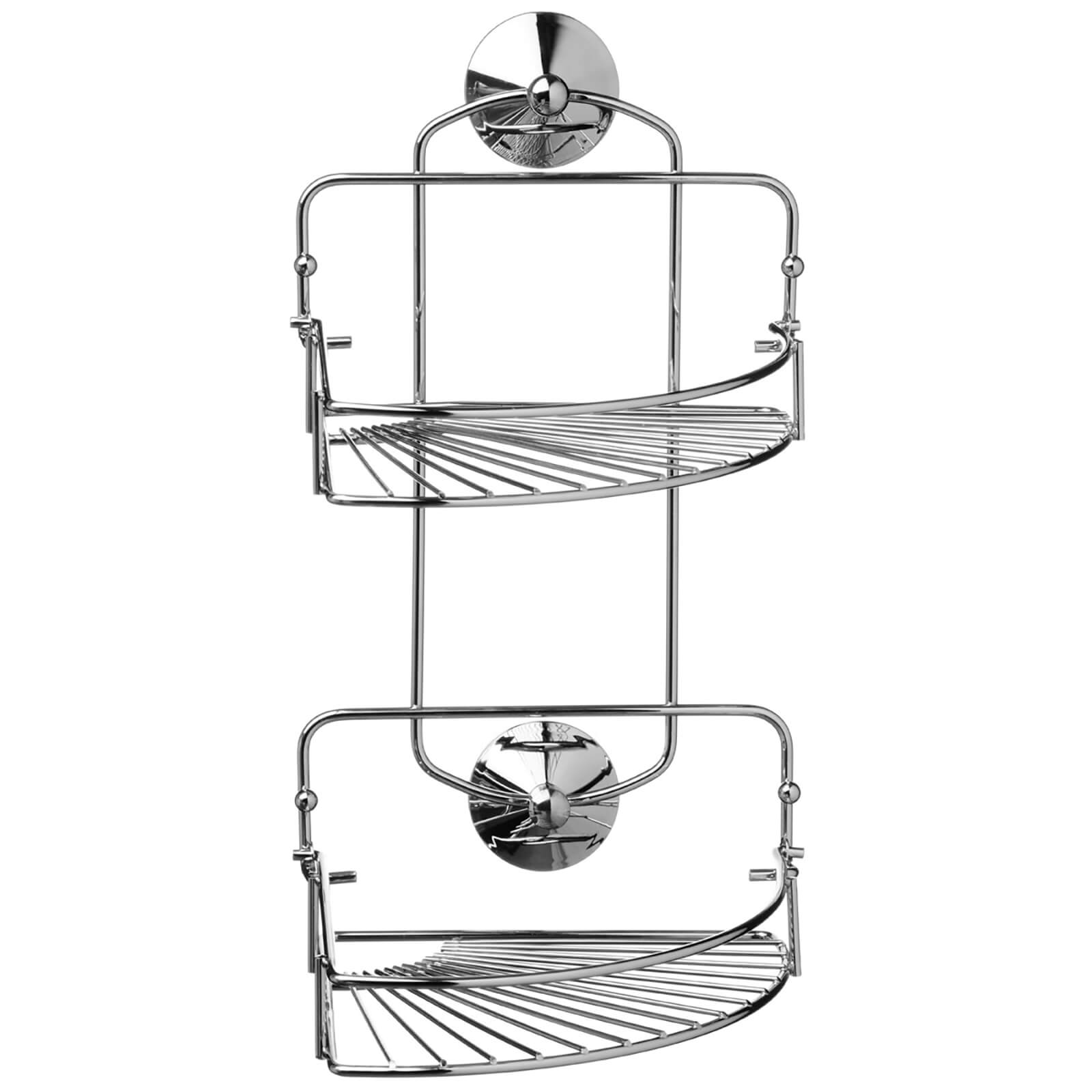 Fifty Five South Suction Fixing Two Tier Folding Corner Caddy - Chrome Finish