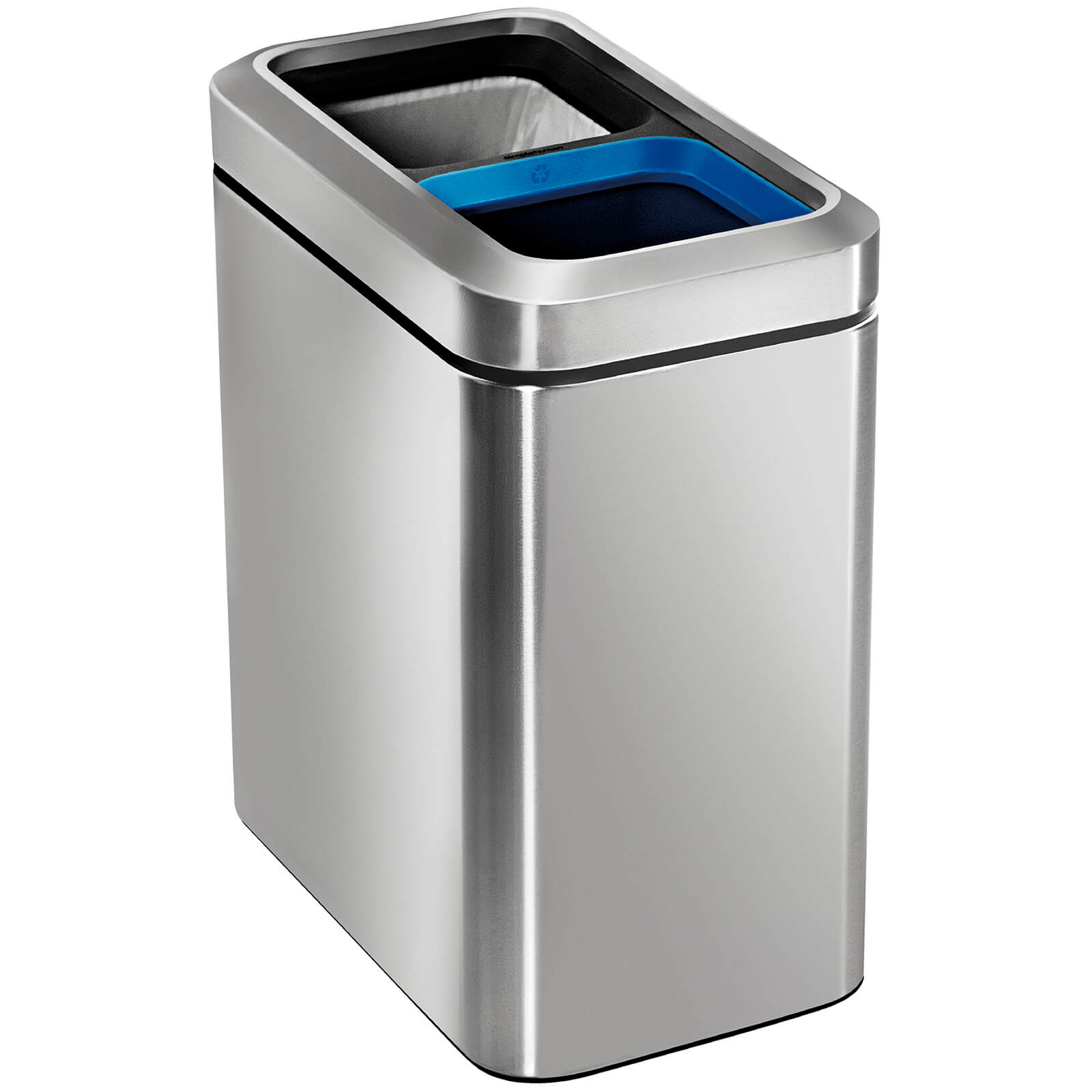 simplehuman Slim Open Recycler Bin - Brushed Steel 20L