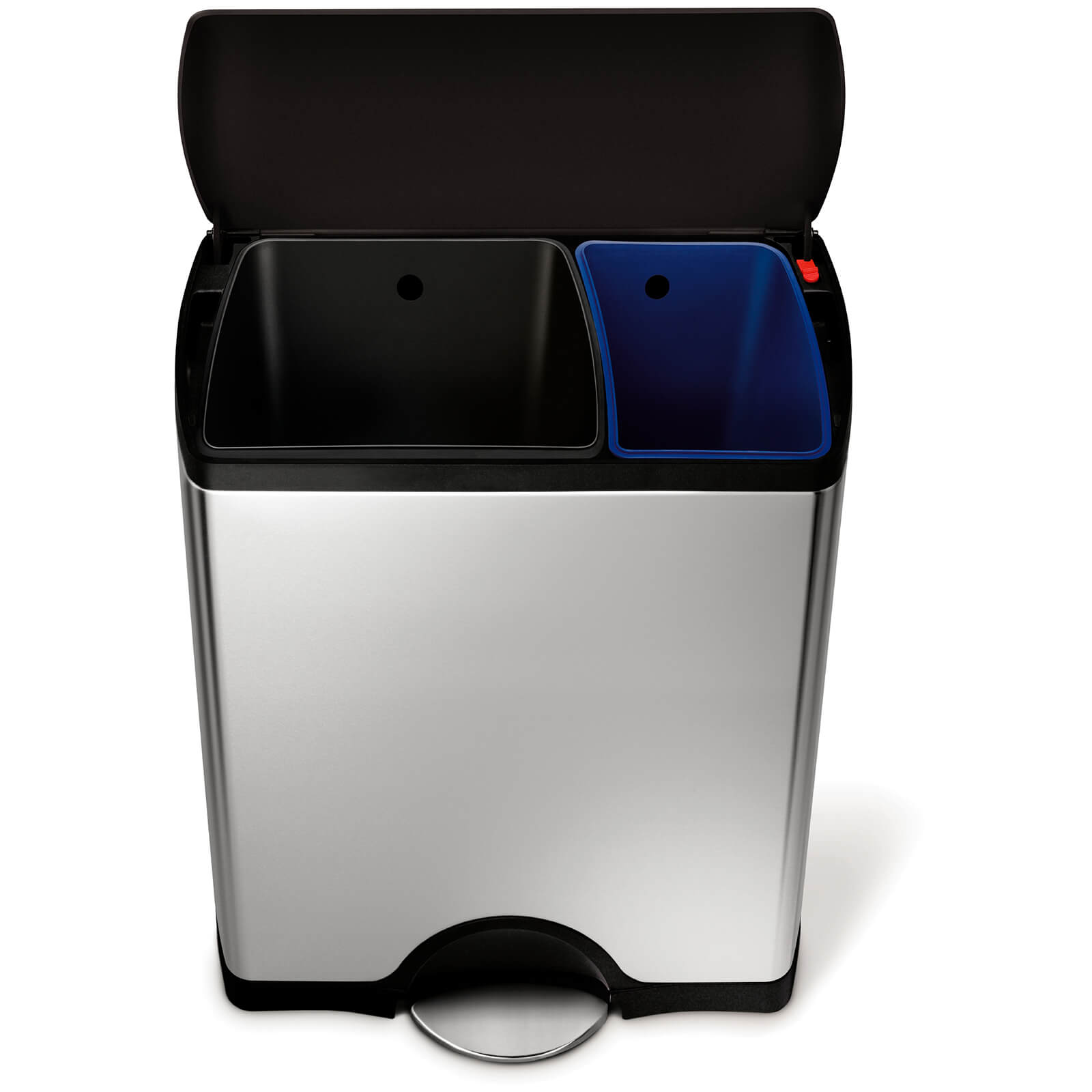 simplehuman Rectangular Recycler Pedal Bin with Plastic Lid - Brushed Steel 46L