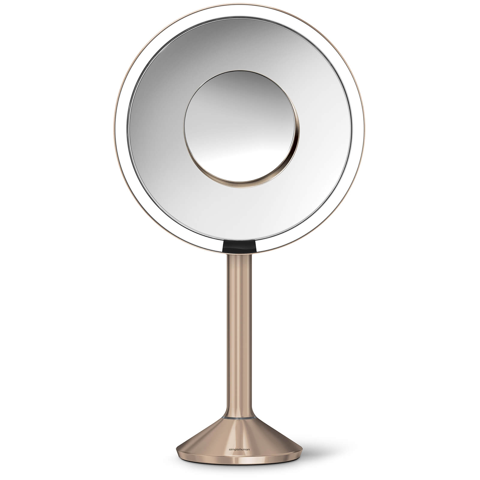 simplehuman Stainless Steel Rechargeable Pro 5x Plus 10x Magnification Sensor Mirror - Rose Gold 20cm