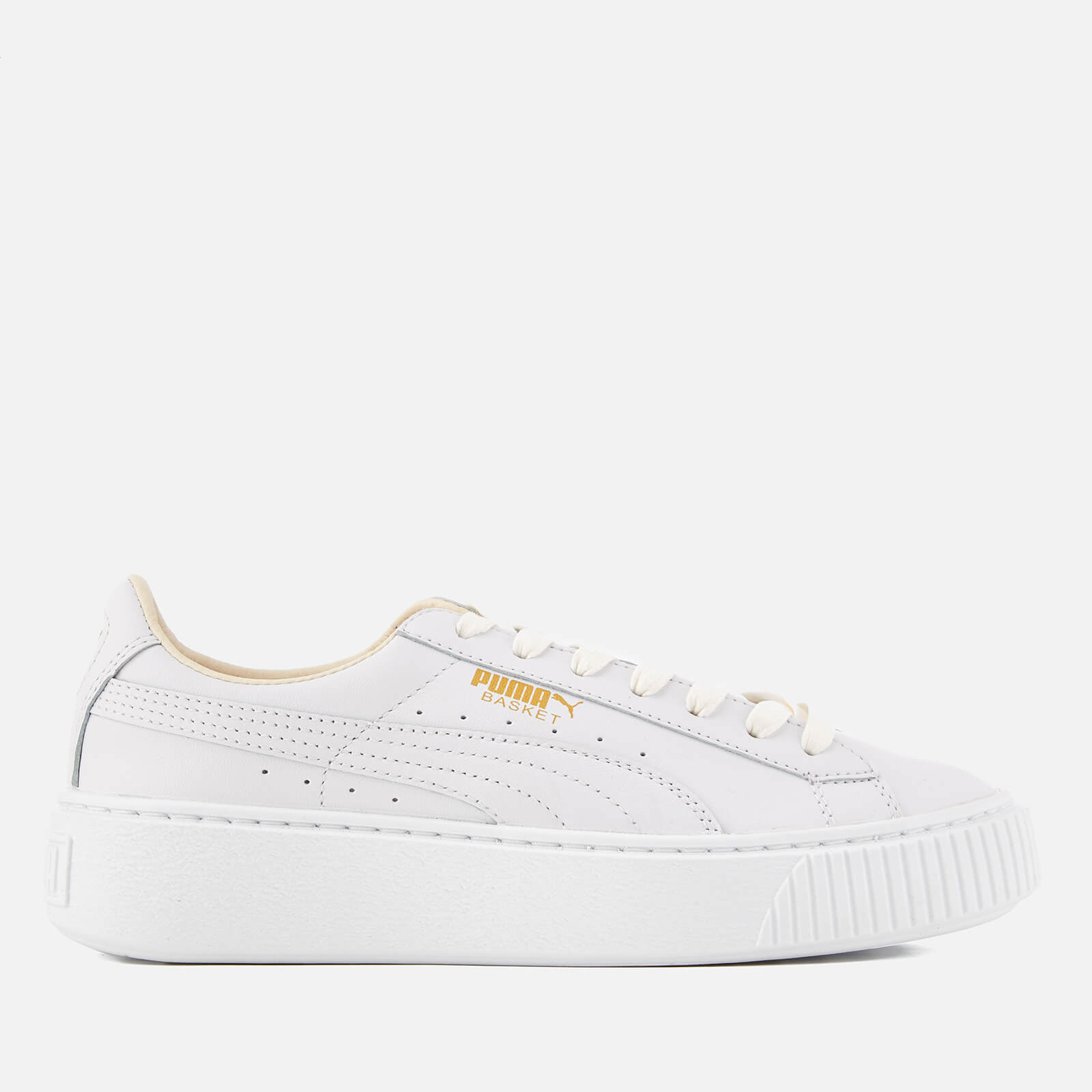 8a96fd91d28 Puma Women s Basket Platform Core Trainers - Puma White Gold - Free UK  Delivery over £50