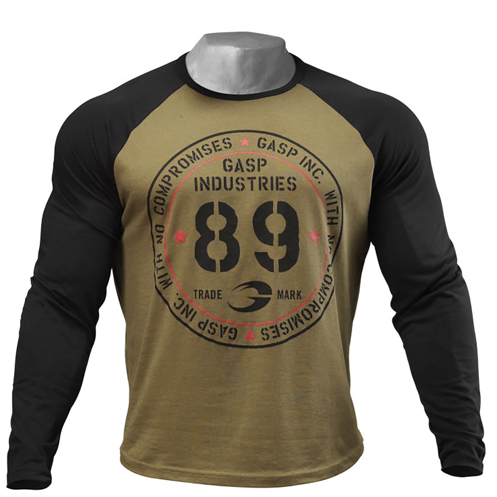 GASP Raglan Long Sleeve T-Shirt - Military Olive/Black - M