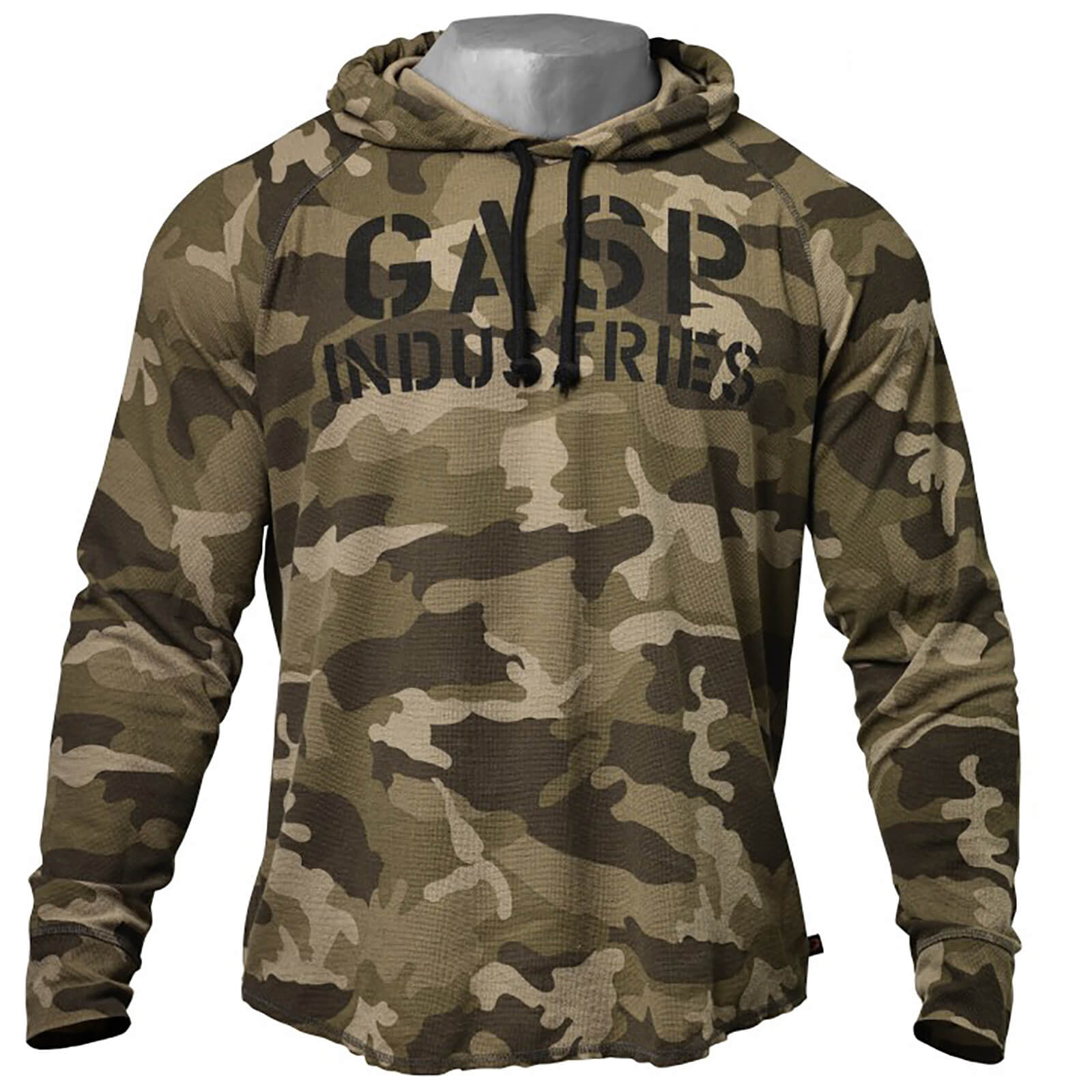 GASP Long Sleeve Thermal Hoody - Green Camoprint - M