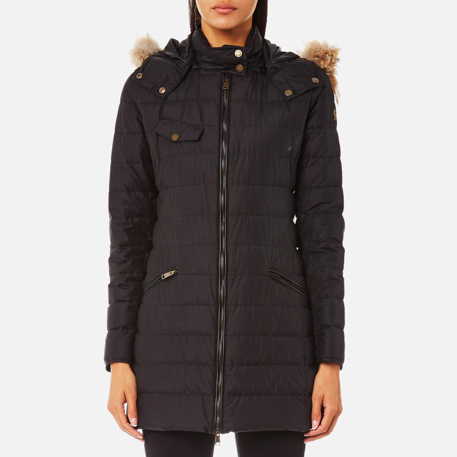 82b18e6f05 Belstaff Women's Melcombe Long Quilted Coat with Fur Hood - Black - Free UK  Delivery over £50