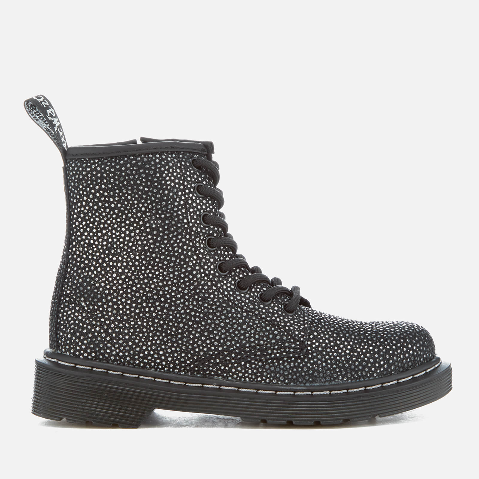 53a7ae36c65 Dr. Martens Kids' Delaney Pebble Metallic 8-Eye Lace Up Boots - Black/Silver
