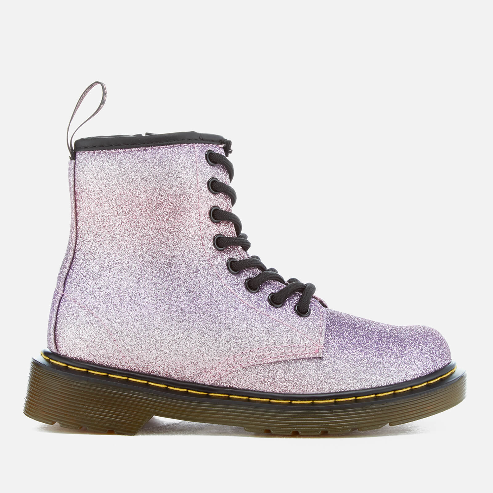 eb7249d44e364 Dr. Martens Kids' Delaney Glitter 8-Eye Lace Up Boots - Pink/Multi Junior  Clothing | TheHut.com