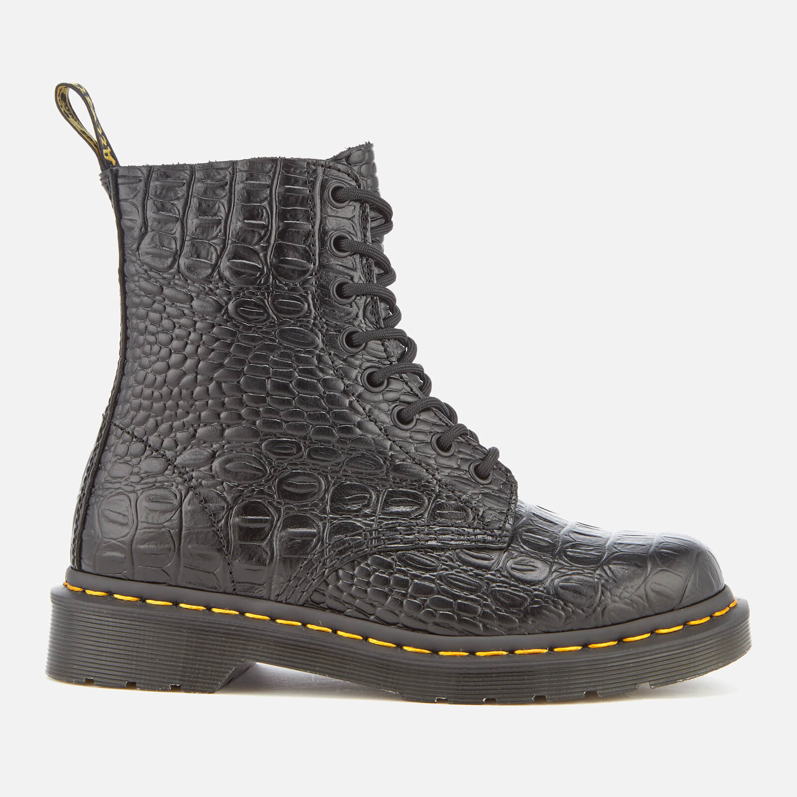 e05933c8e8bbeb Dr. Martens Women s Pascal Croc Leather 8-Eye Lace Up Boots - Black - Free  UK Delivery over £50