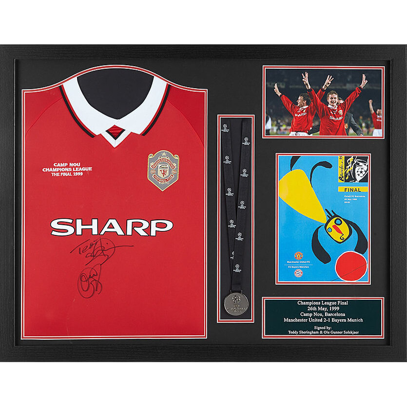 Teddy Sheringham and Solskjaer Dual Signed and Framed