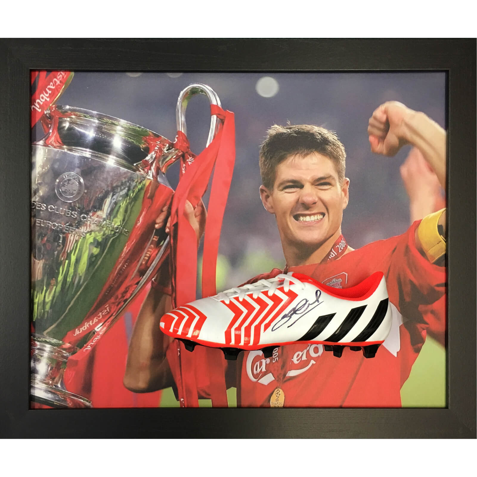 Steven Gerrard Signed and Framed Boot with Domed Frame Finish