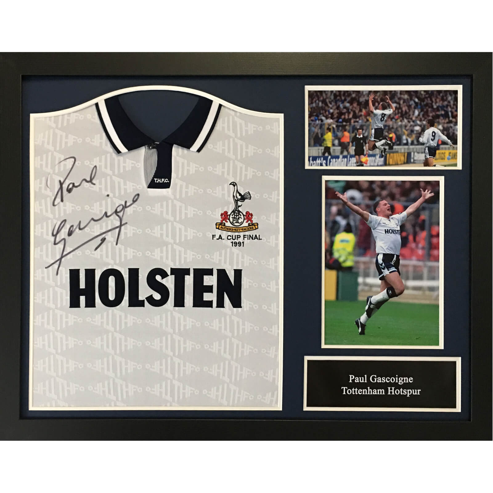 Paul Gascoigne Signed and Framed Tottenham Hotspurs Shirt