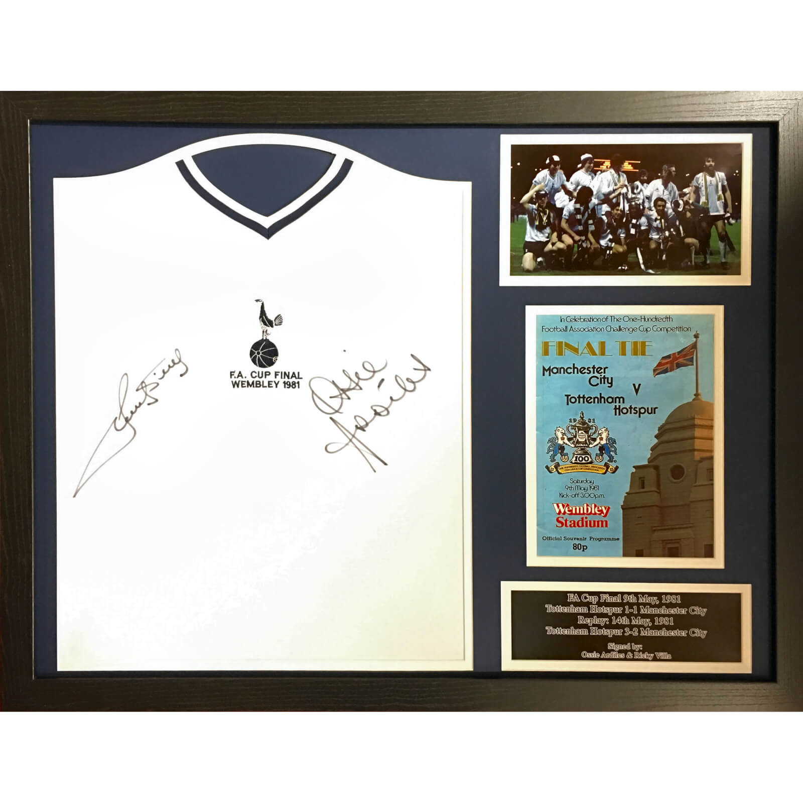 Ossie Ardiles and Ricky Villa Dual Signed and Framed Tottenham Hotspurs 1981