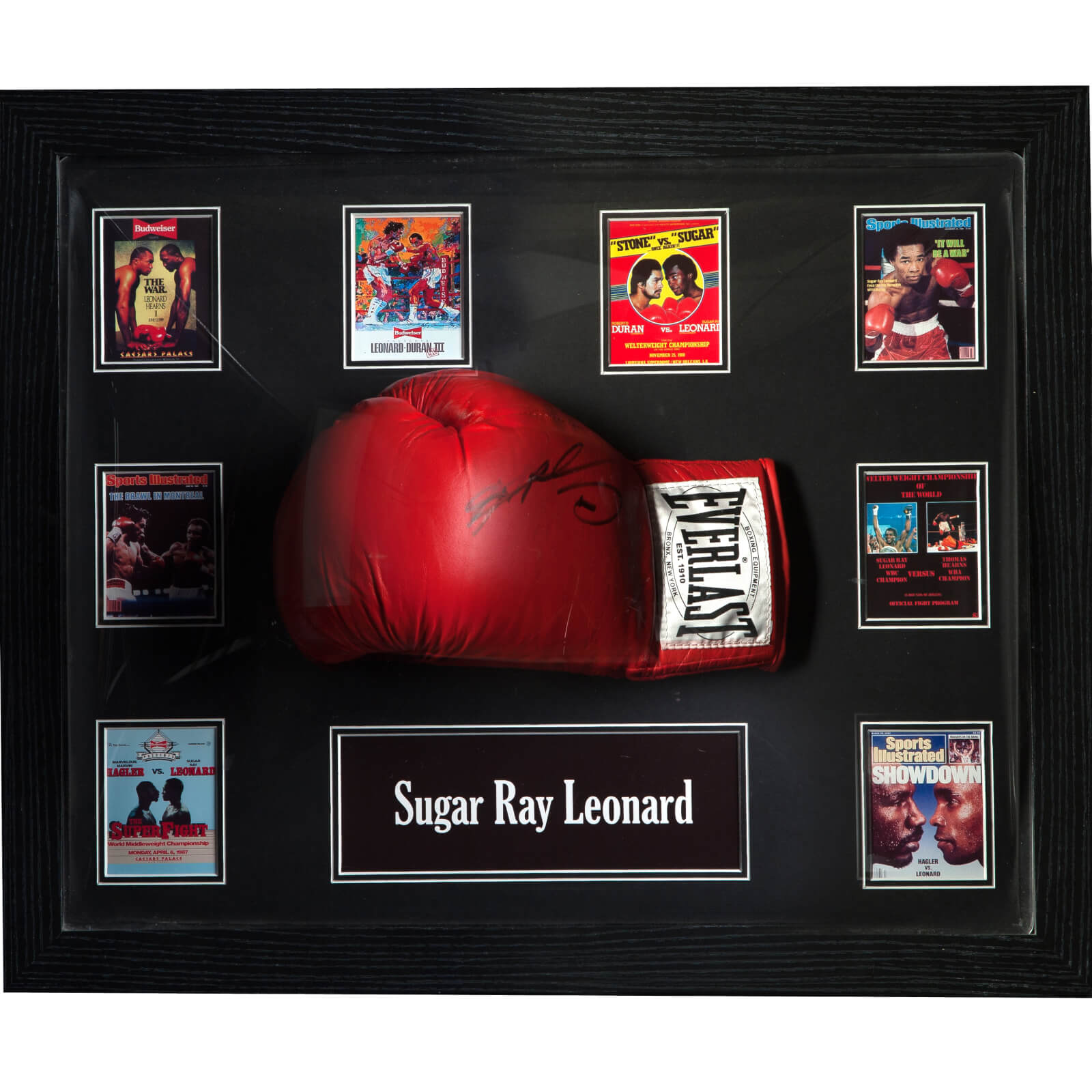 Sugar Ray Leonard Signed And Framed Boxing Glove With Domed Frame