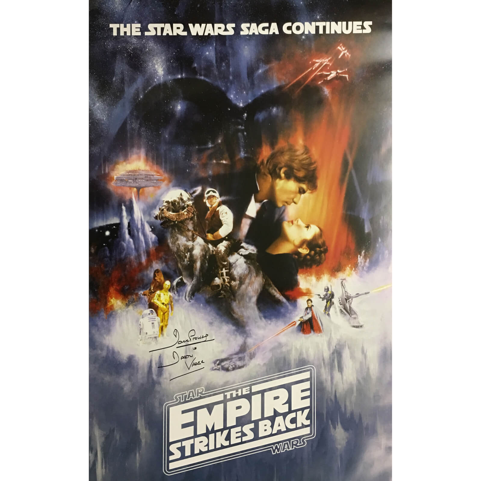 Star Wars: The Empire Strikes Back Framed Poster Signed by Dave Prowse (Darth Vader)