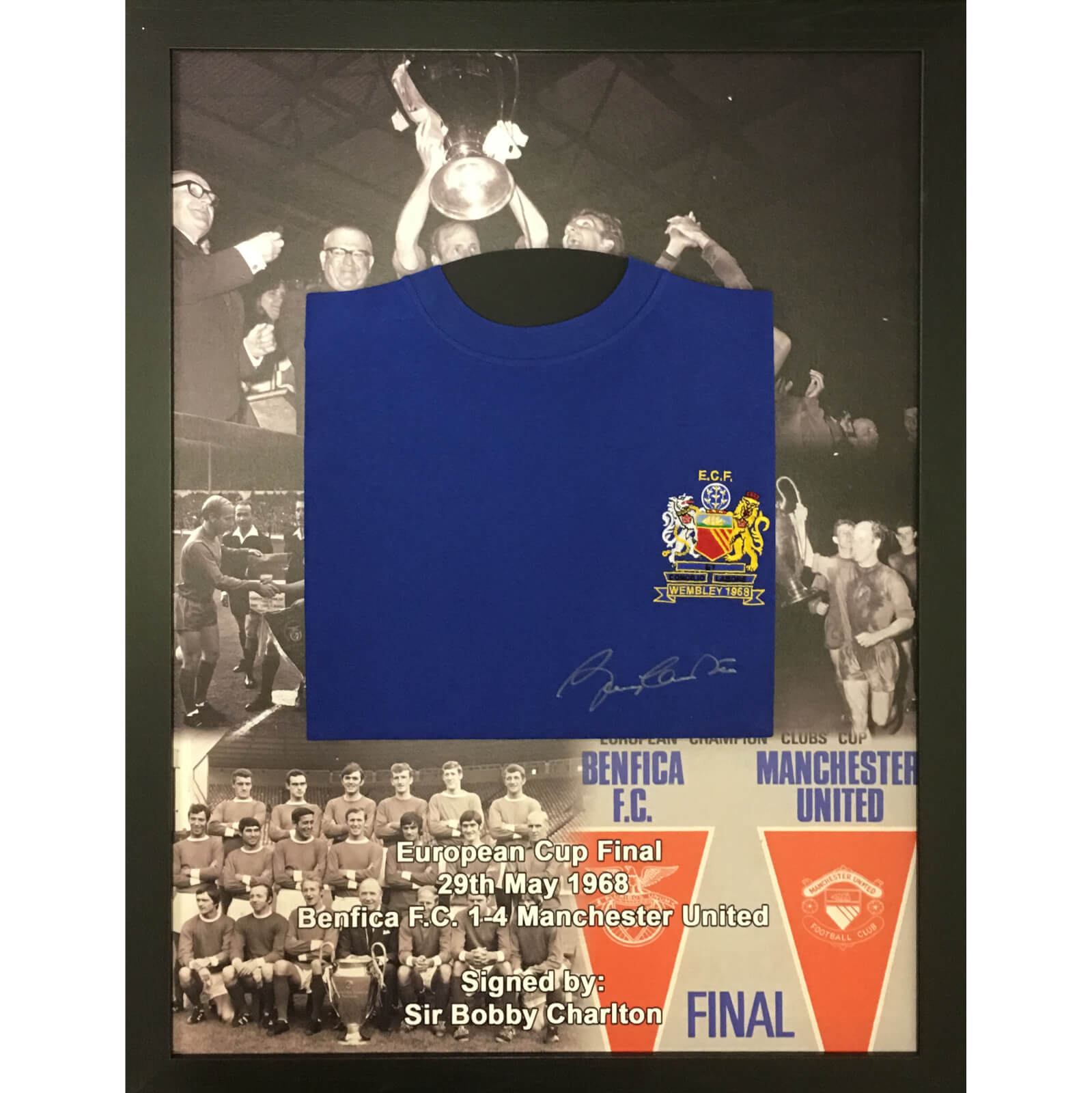 Bobby Charlton 1968 European Cup Signed and Framed Shirt