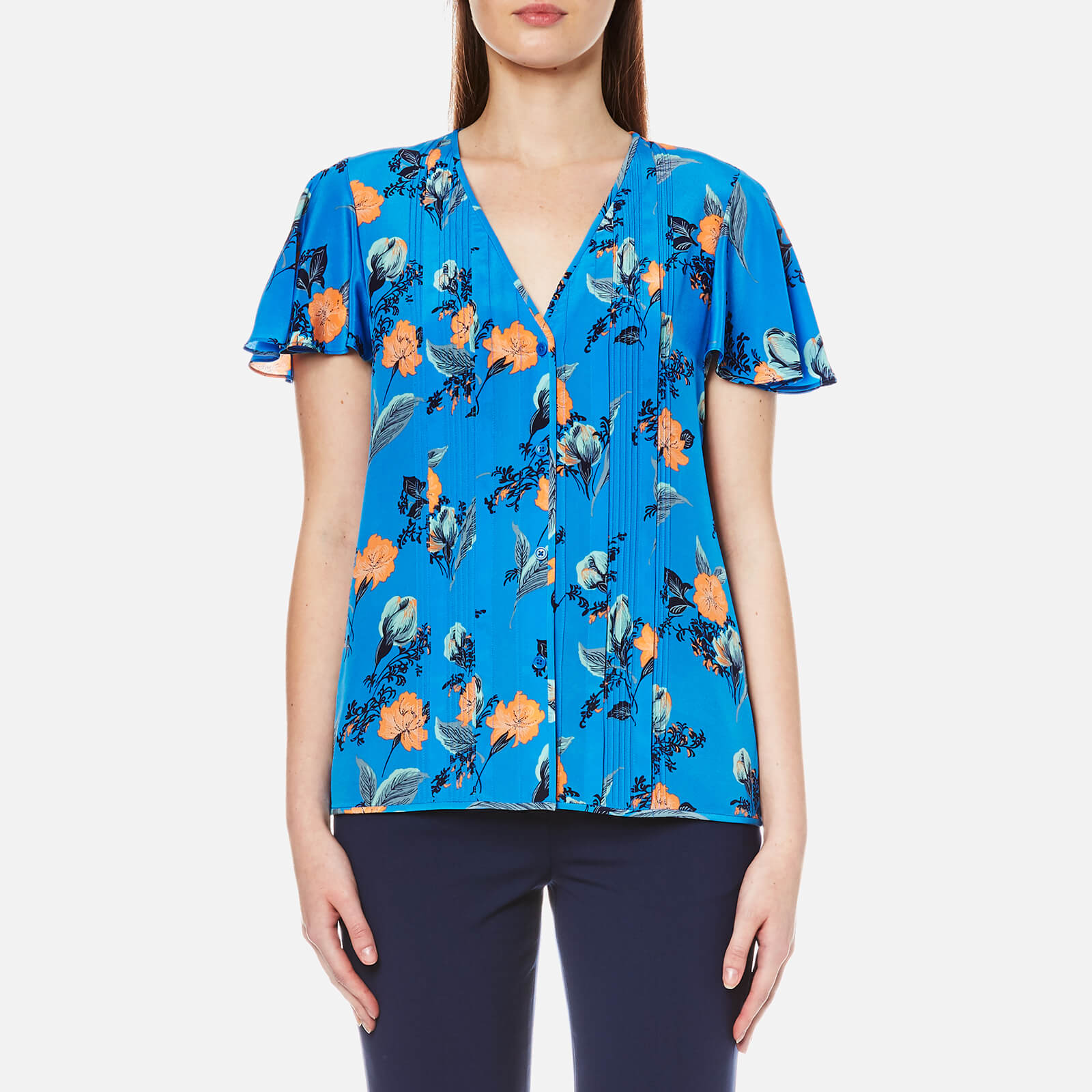 43e4e510b4f5a Diane von Furstenberg Women s Flutter Sleeve Blouse - Silese Tile Blue -  Free UK Delivery over £50