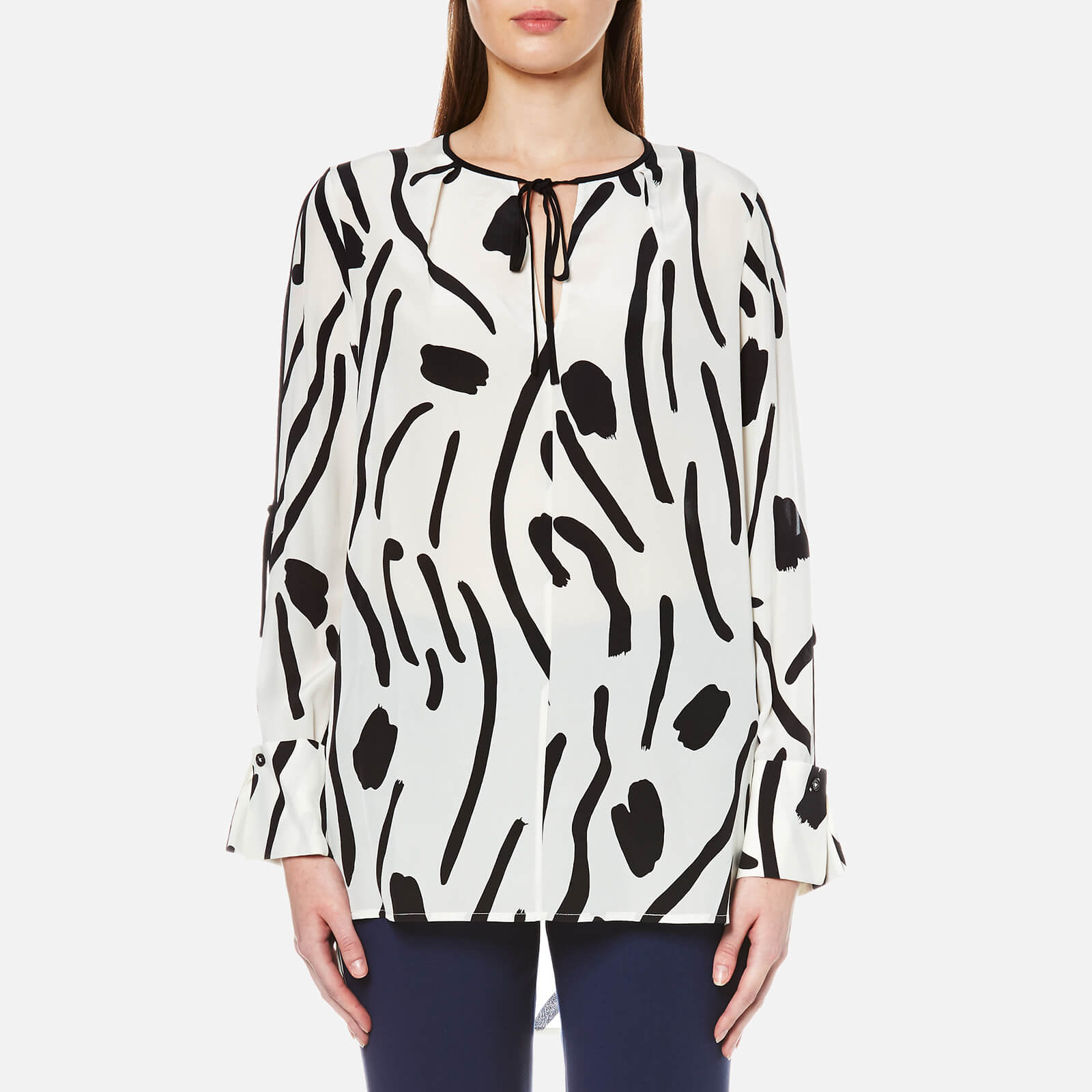c08a9d3dceb94a Diane von Furstenberg Women s Keyhole Tied Blouse - Chatham Large  Ivory Black - Free UK Delivery over £50