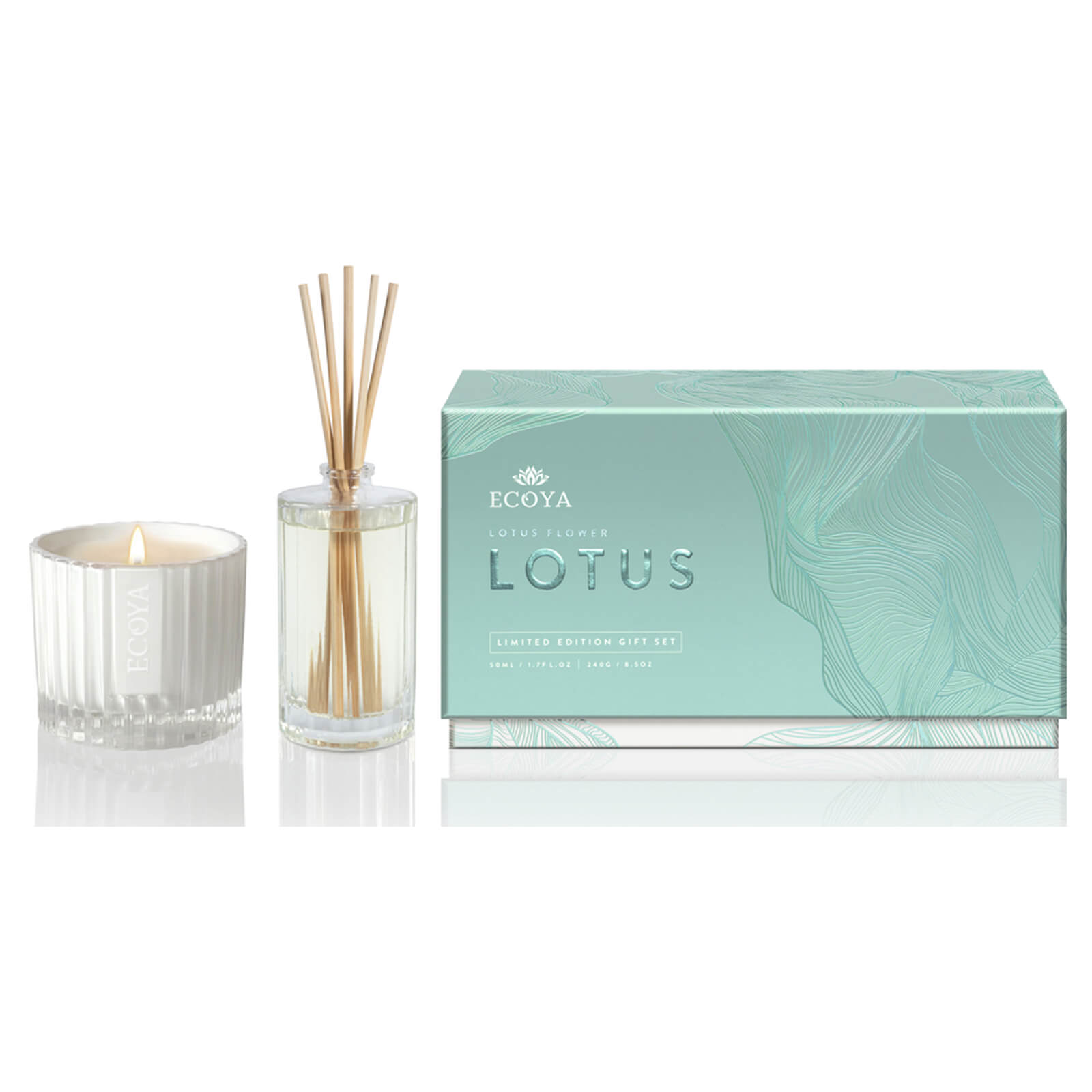 Ecoya Lotus Flower Sorbet Candle And Diffuser Gift Set Limited