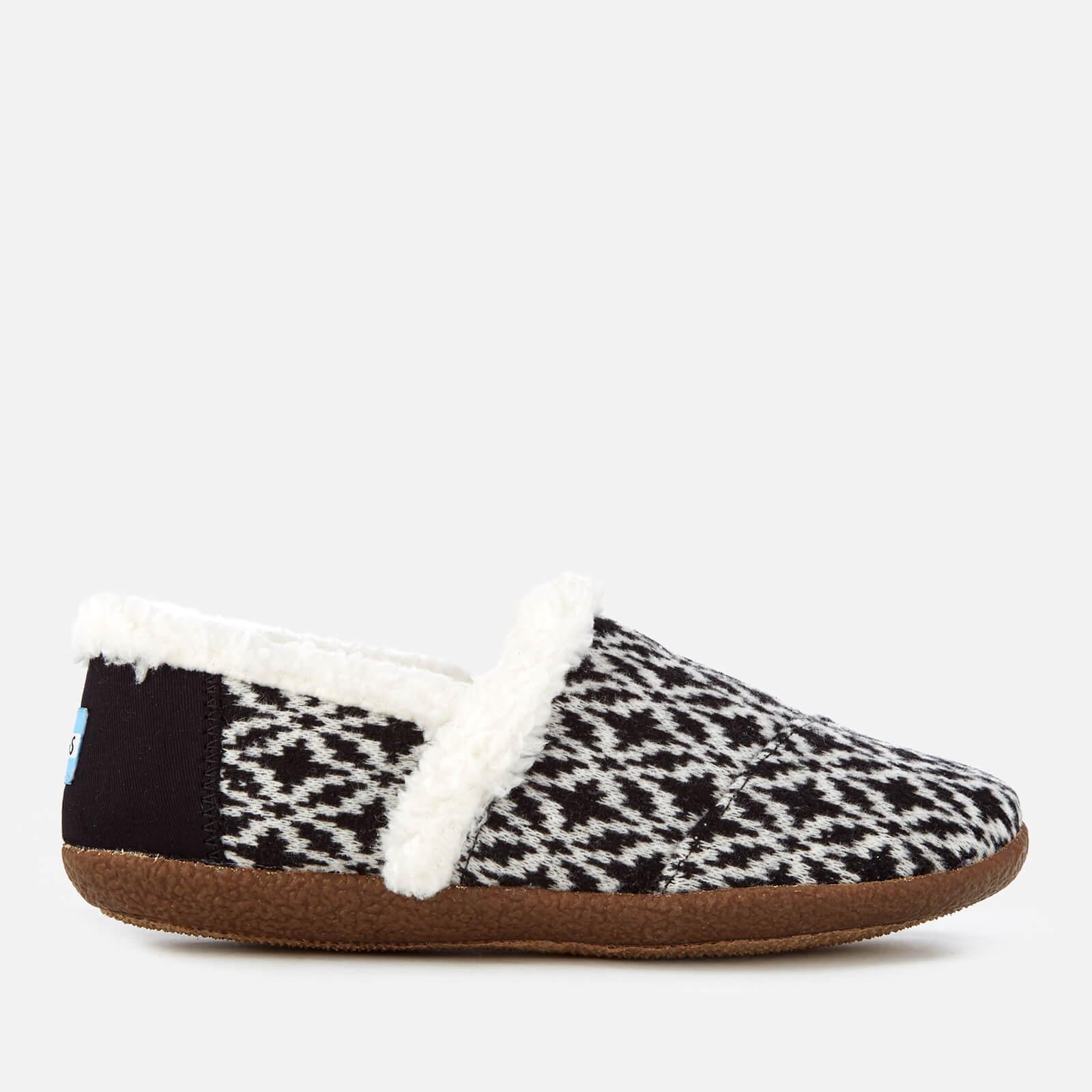 e9ee7e858c4 TOMS Women s Full Slippers - Black White Fair Isle Womens Footwear ...