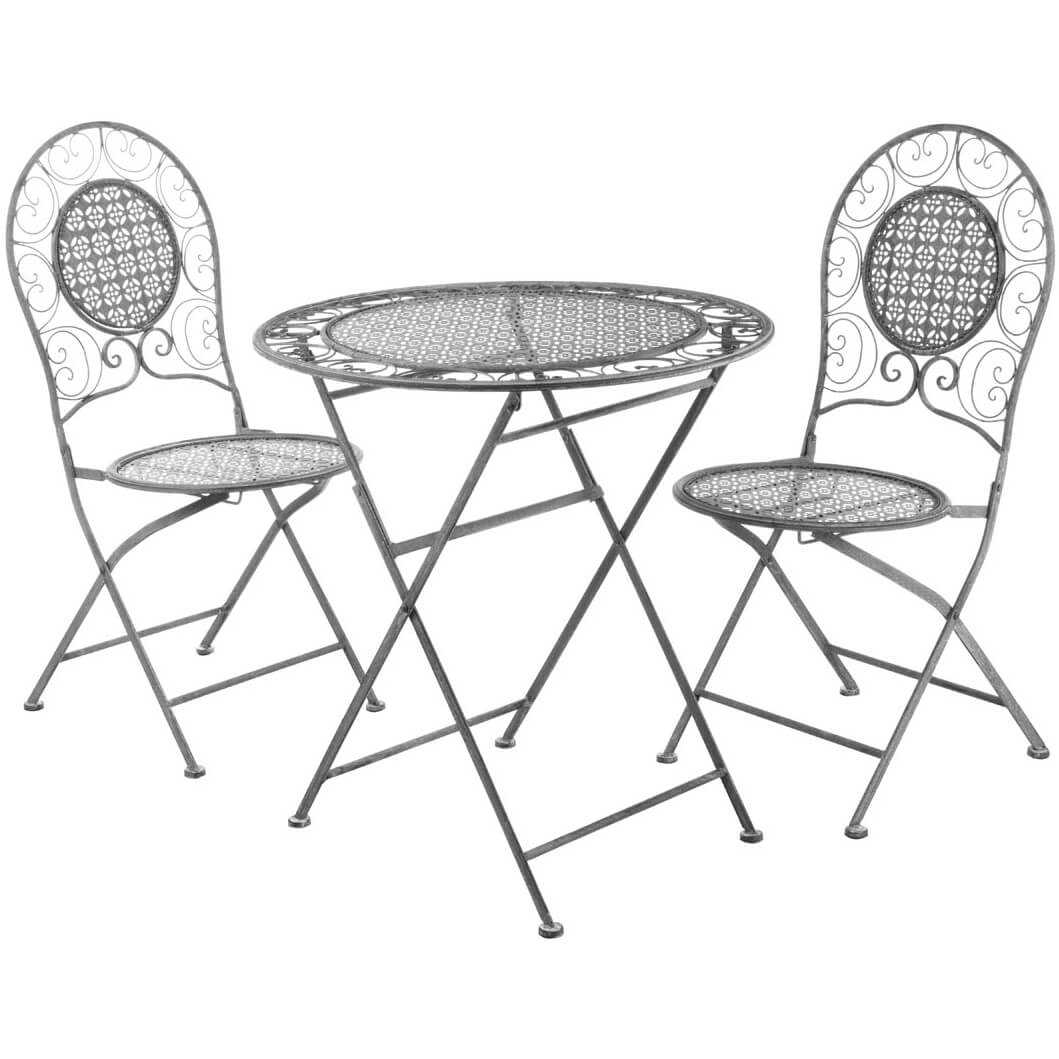 Finchwood Jardin Antique Wrought Iron Table Set - (3 Piece) Grey