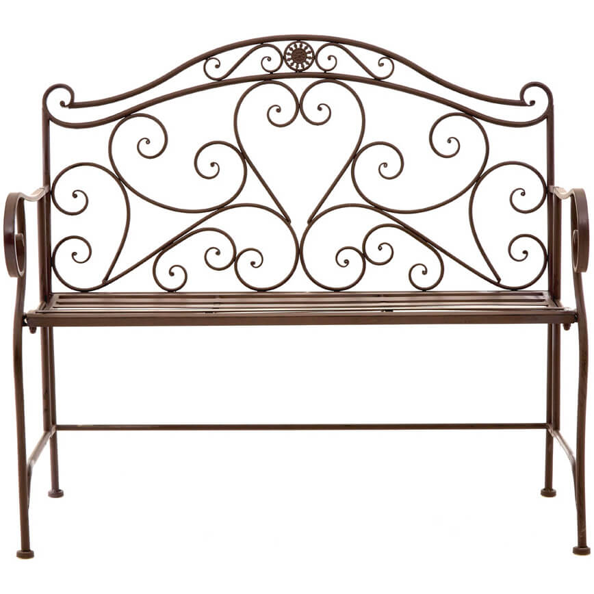 Finchwood Jardin Antique Bench - Wrought Iron Light Antique Brown