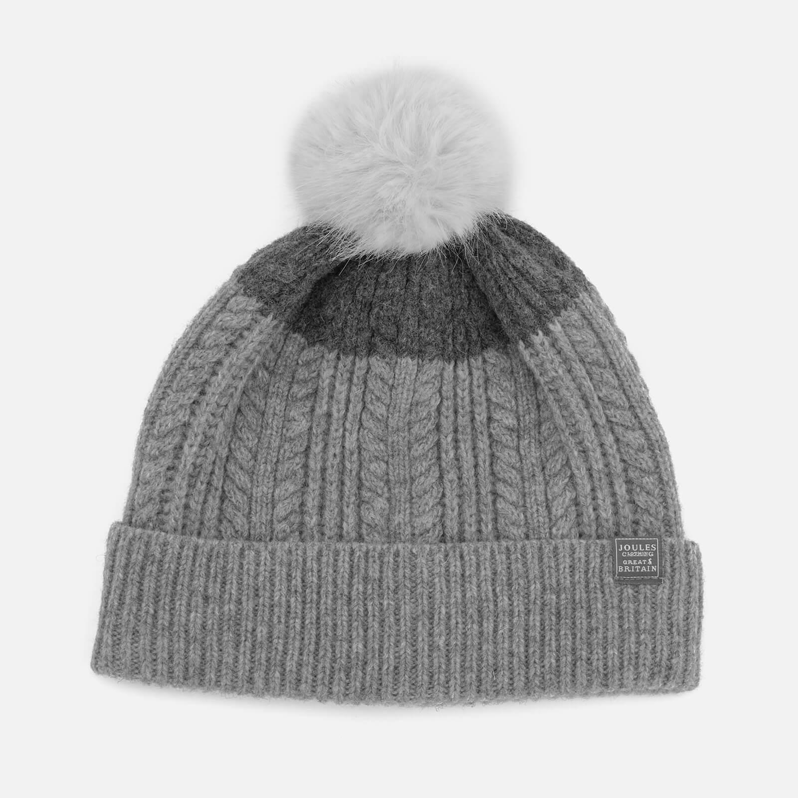 ca37b9147 Joules Women's Fine Cable Bobble Hat with Faux Fur Pom - Light Grey