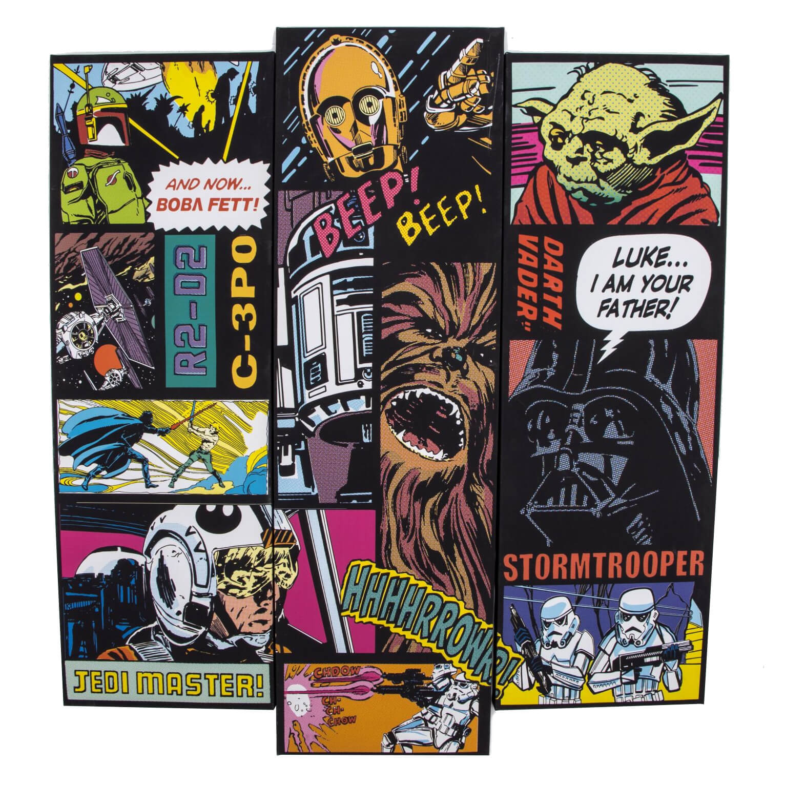 Star Wars Comic Film Movie Collage Set Of 3 Trio Canvases Wall Art