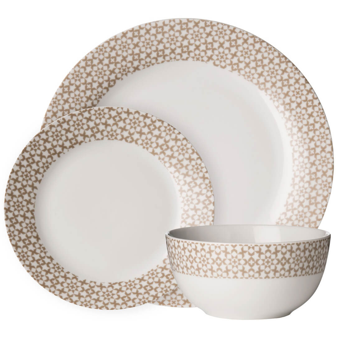 Premier Housewares 12 Piece Avie Casablanca Dinner Set - Natural Porcelain