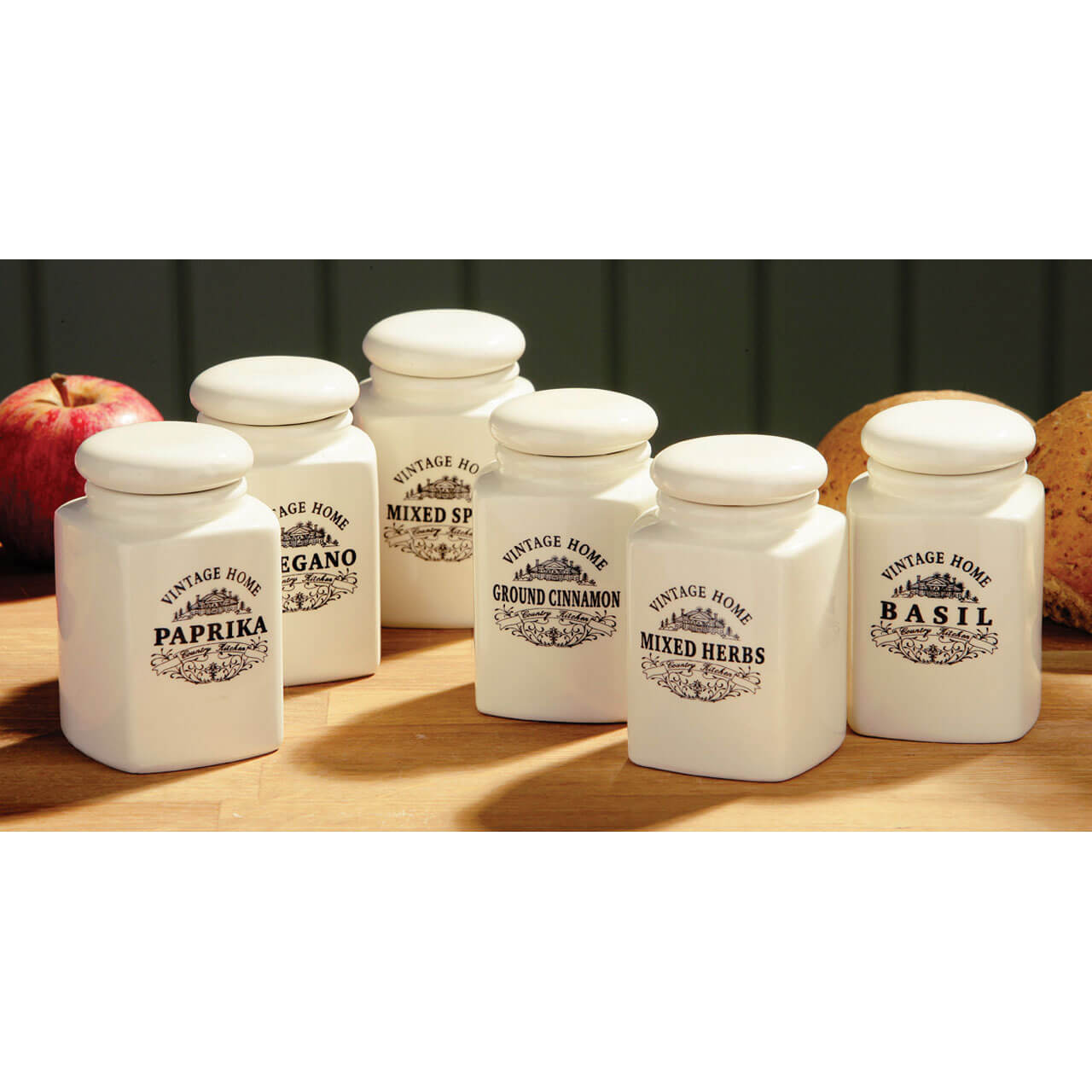 Premier Housewares Vintage Home Spice Jars (Set of 6) - Cream Ceramic