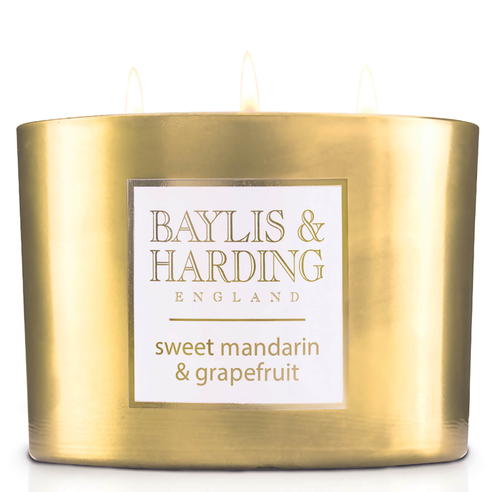 Baylis & Harding Sweet Mandarin and Grapefruit 3 Wick Candle with Metallic Holder