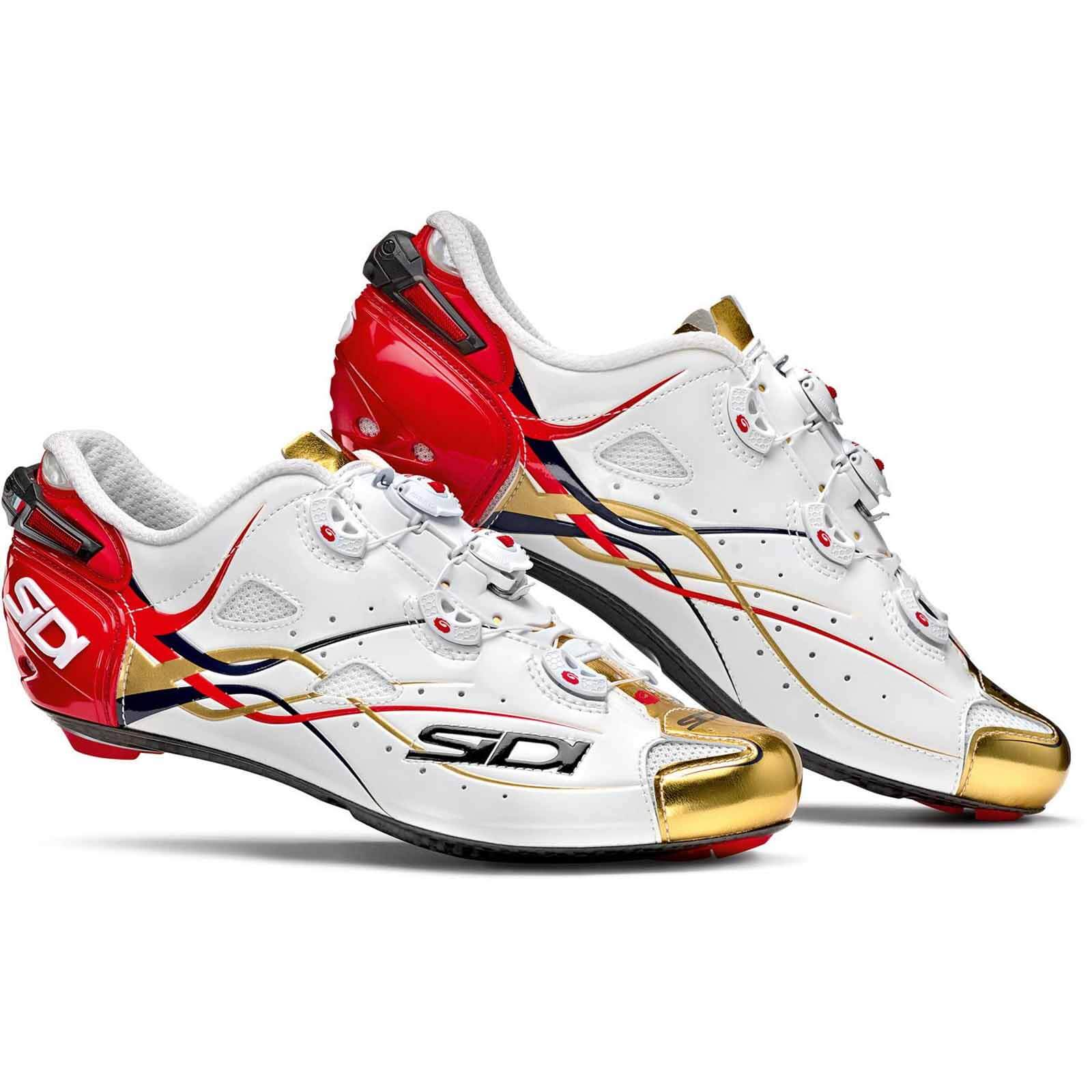 Sidi Shot Team Bahrain Carbon Cycling Shoes - White/Gold/Red