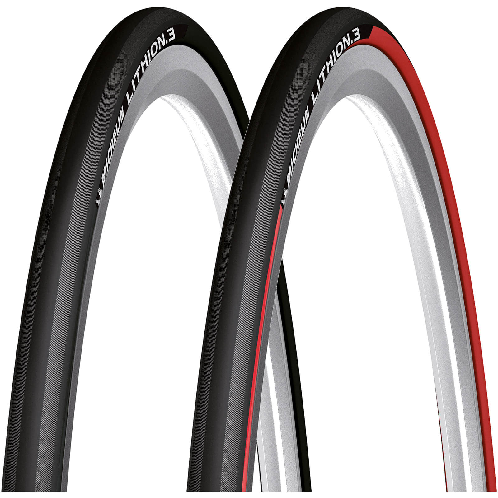 Michelin Lithion 3 Folding Clincher Road Tyre - Red - 700c x 23mm