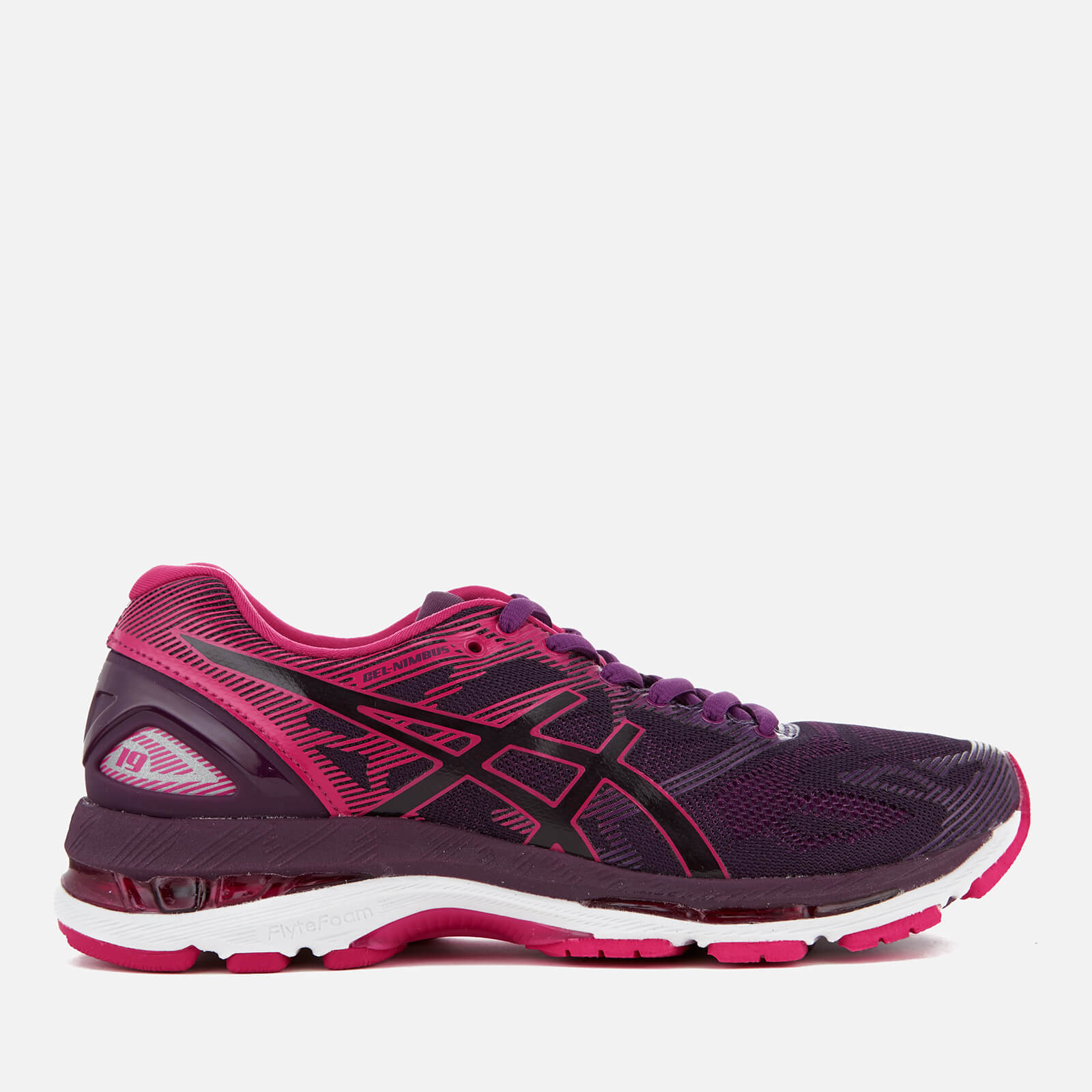 the best attitude 1c089 f1607 Asics Running Women's Gel Nimbus 19 Trainers - Black/Cosmo Pink/Winter Bloom